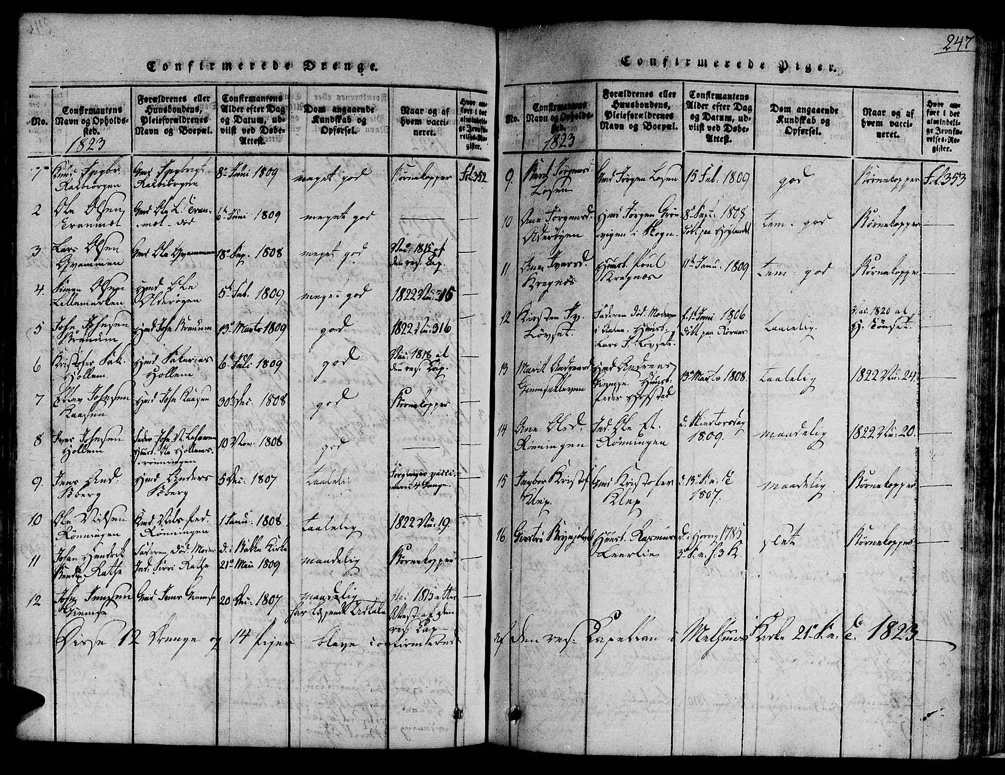 SAT, Ministerialprotokoller, klokkerbøker og fødselsregistre - Sør-Trøndelag, 691/L1065: Ministerialbok nr. 691A03 /1, 1816-1826, s. 247