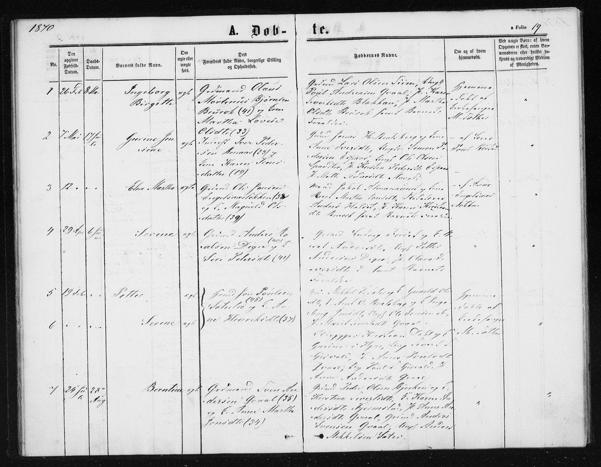 SAT, Ministerialprotokoller, klokkerbøker og fødselsregistre - Sør-Trøndelag, 608/L0333: Ministerialbok nr. 608A02, 1862-1876, s. 19