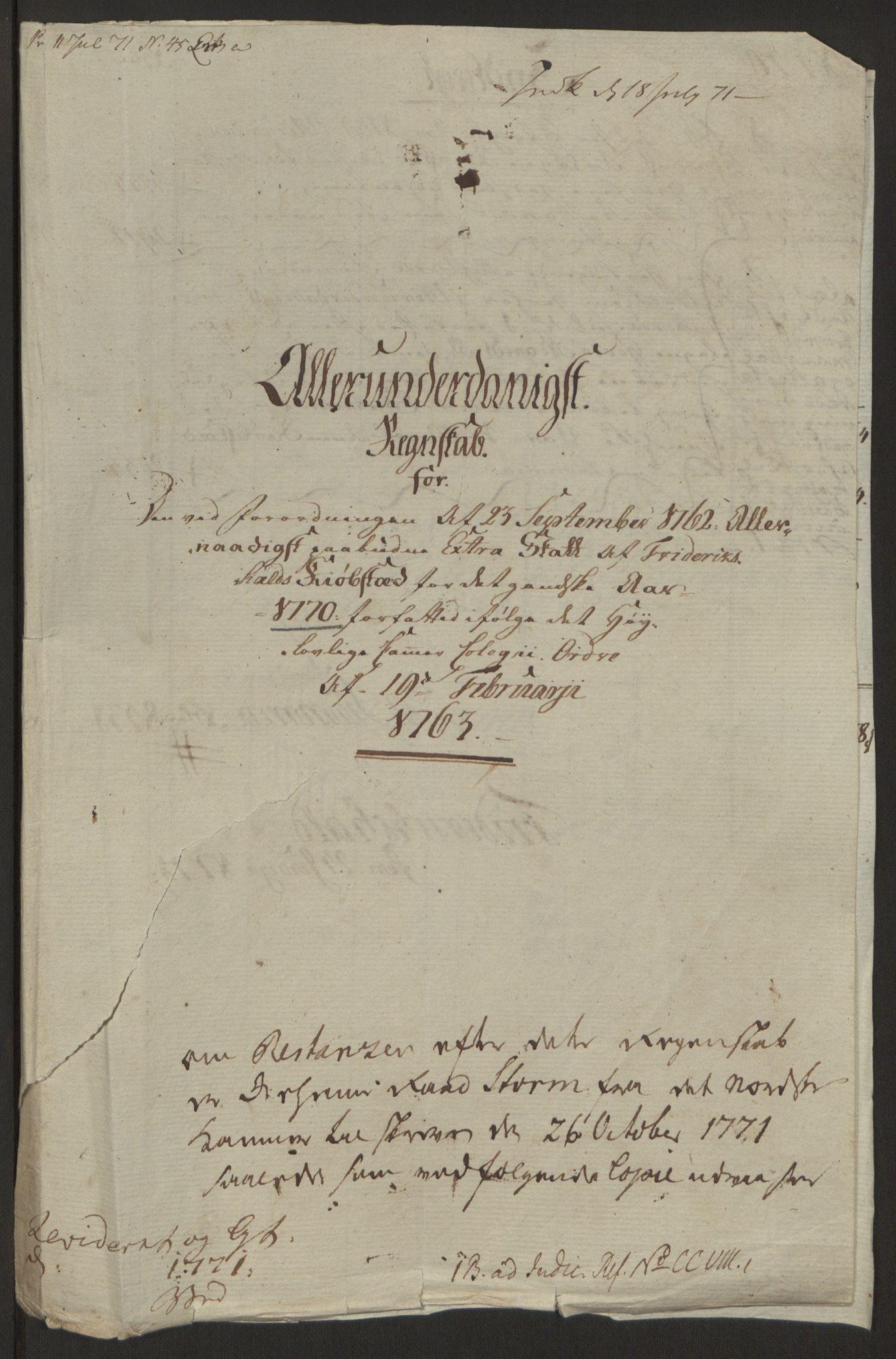 RA, Rentekammeret inntil 1814, Reviderte regnskaper, Byregnskaper, R/Ra/L0006: [A4] Kontribusjonsregnskap, 1762-1772, s. 161