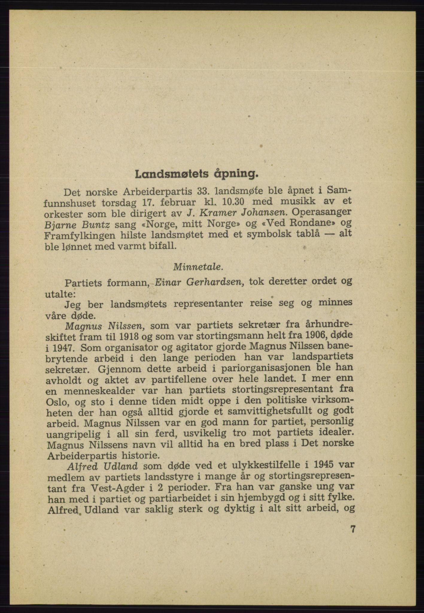 AAB, Det norske Arbeiderparti - publikasjoner, -/-: Protokoll over forhandlingene på det 33. ordinære landsmøte 17.-20. februar 1949 i Oslo, 1949, s. 7