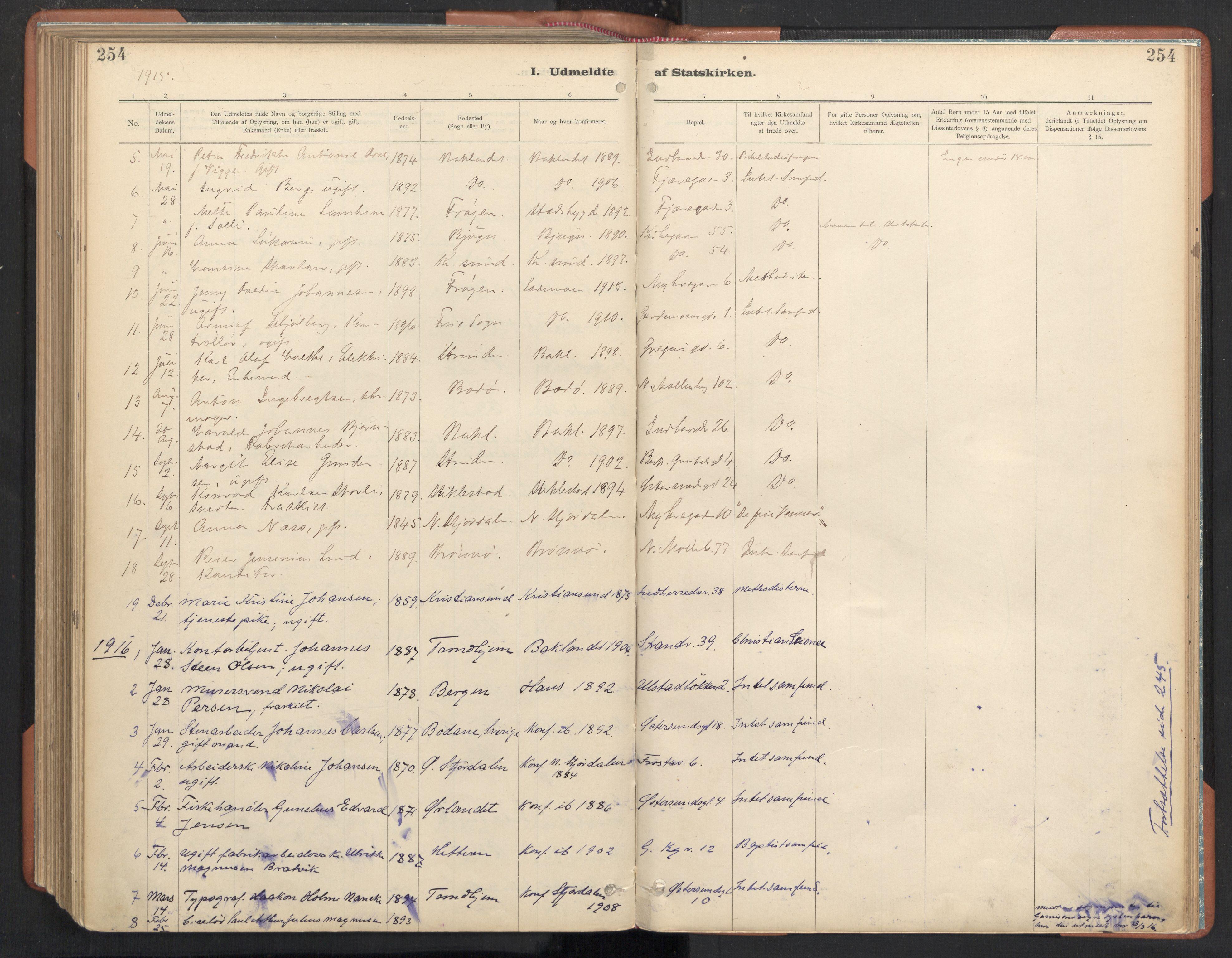 SAT, Ministerialprotokoller, klokkerbøker og fødselsregistre - Sør-Trøndelag, 605/L0244: Ministerialbok nr. 605A06, 1908-1954, s. 254