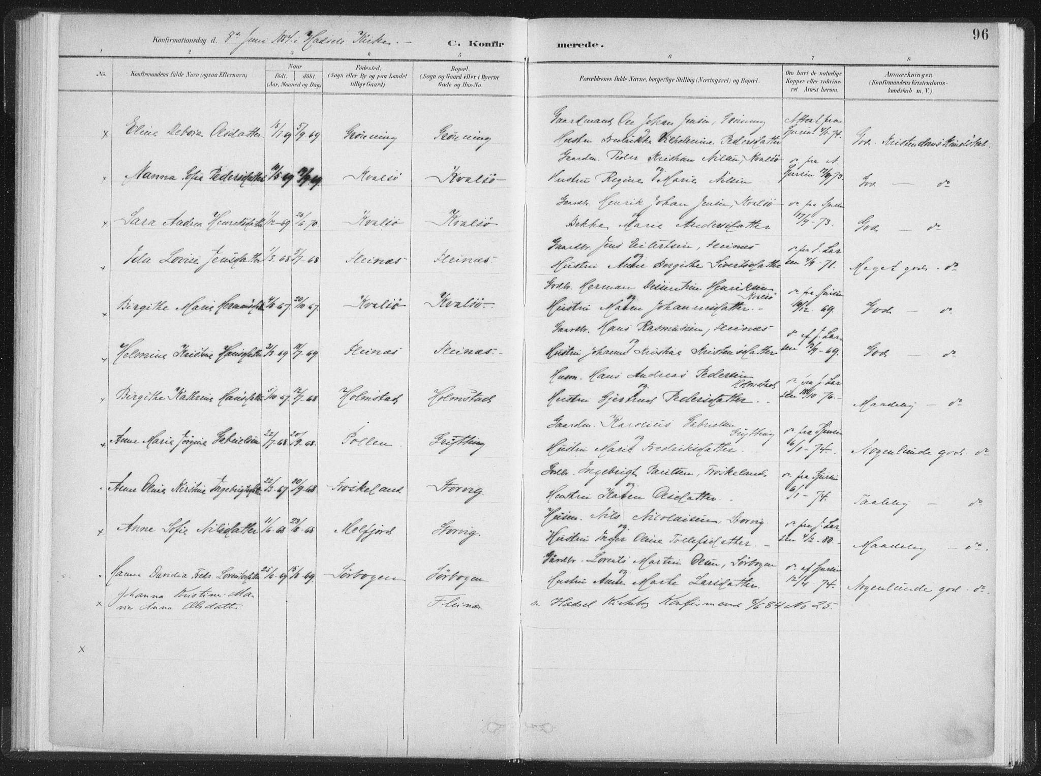 SAT, Ministerialprotokoller, klokkerbøker og fødselsregistre - Nordland, 890/L1286: Ministerialbok nr. 890A01, 1882-1902, s. 96