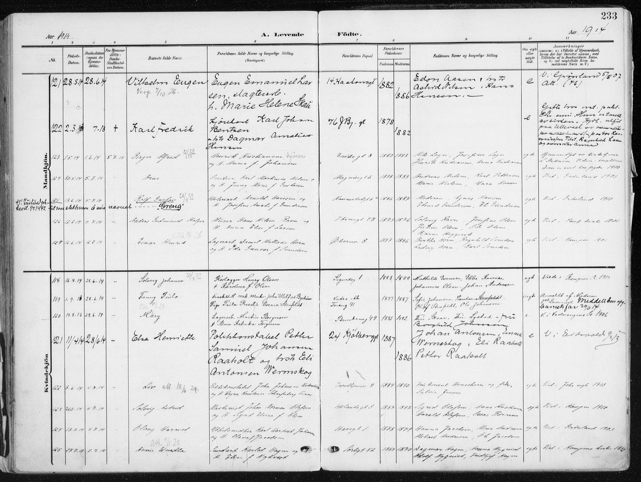SAO, Kampen prestekontor Kirkebøker, F/Fa/L0010: Ministerialbok nr. I 10, 1905-1917, s. 233