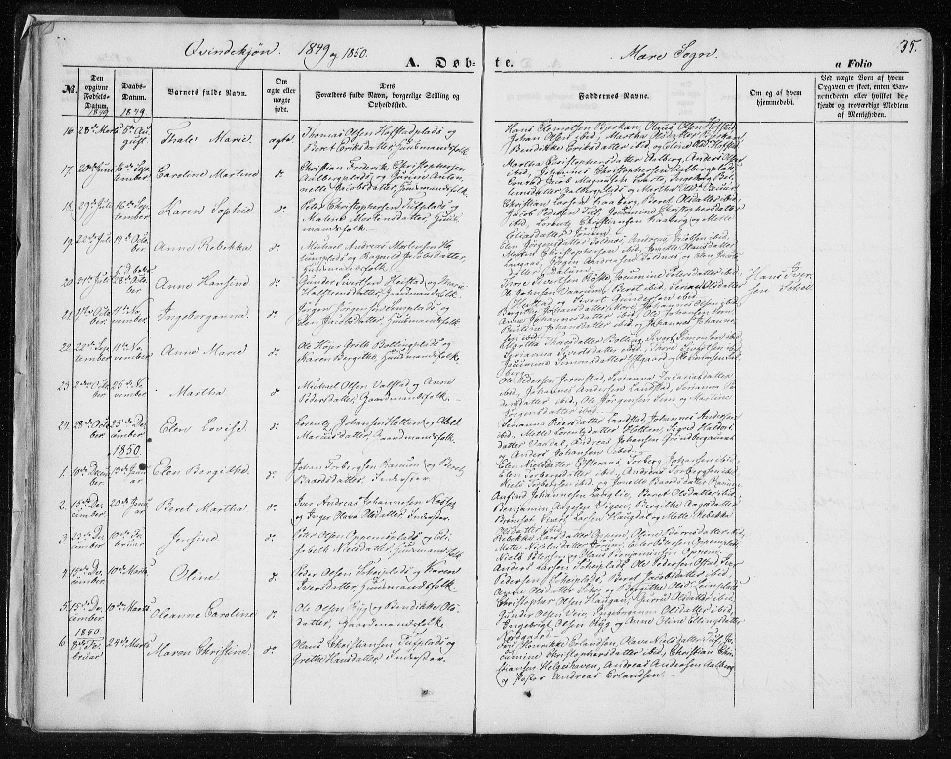 SAT, Ministerialprotokoller, klokkerbøker og fødselsregistre - Nord-Trøndelag, 735/L0342: Ministerialbok nr. 735A07 /1, 1849-1862, s. 35