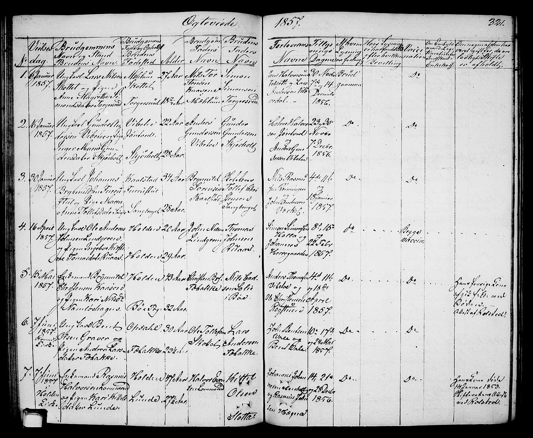 SAKO, Holla kirkebøker, G/Ga/L0003: Klokkerbok nr. I 3, 1849-1866, s. 321