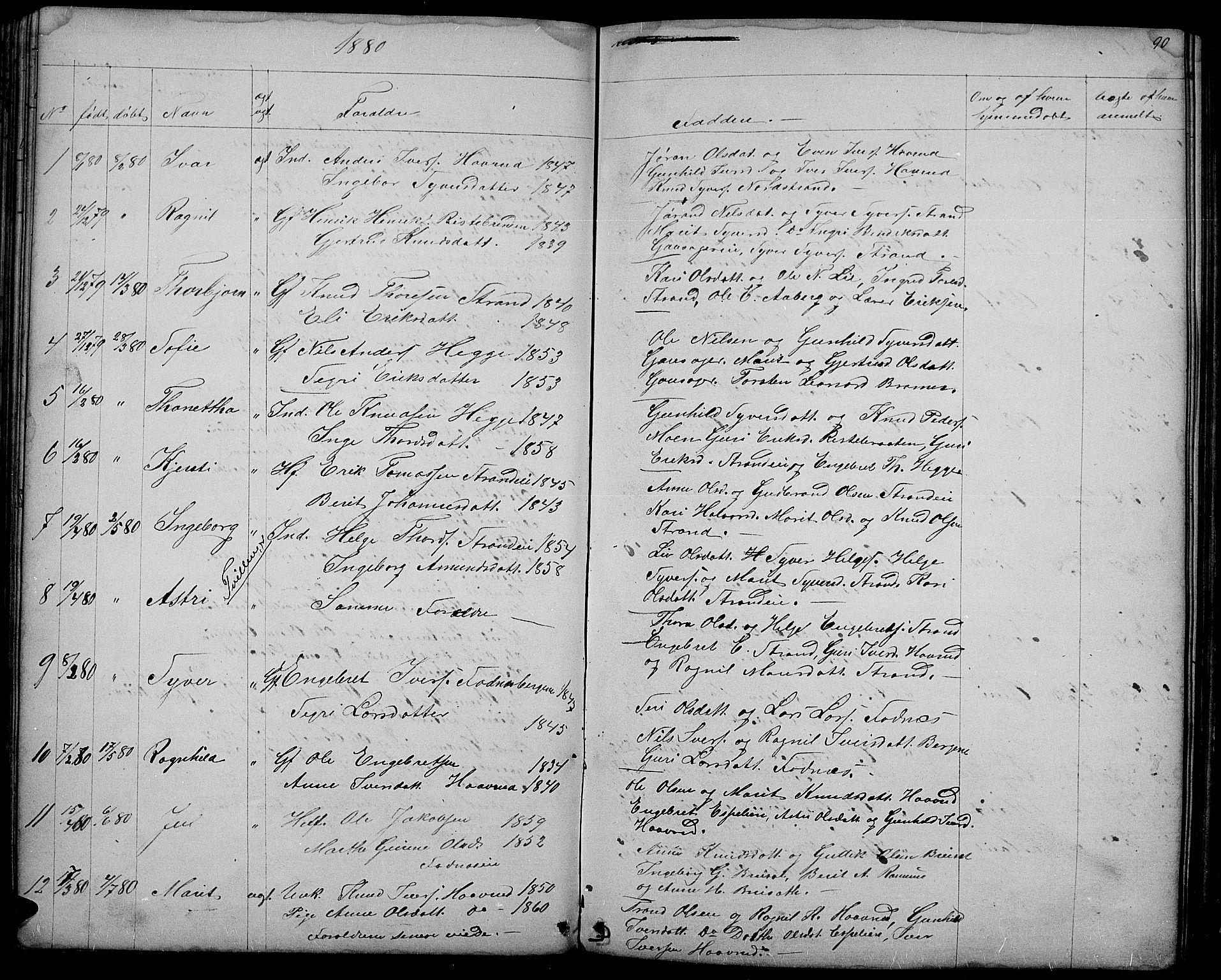 SAH, Nord-Aurdal prestekontor, Klokkerbok nr. 3, 1842-1882, s. 90