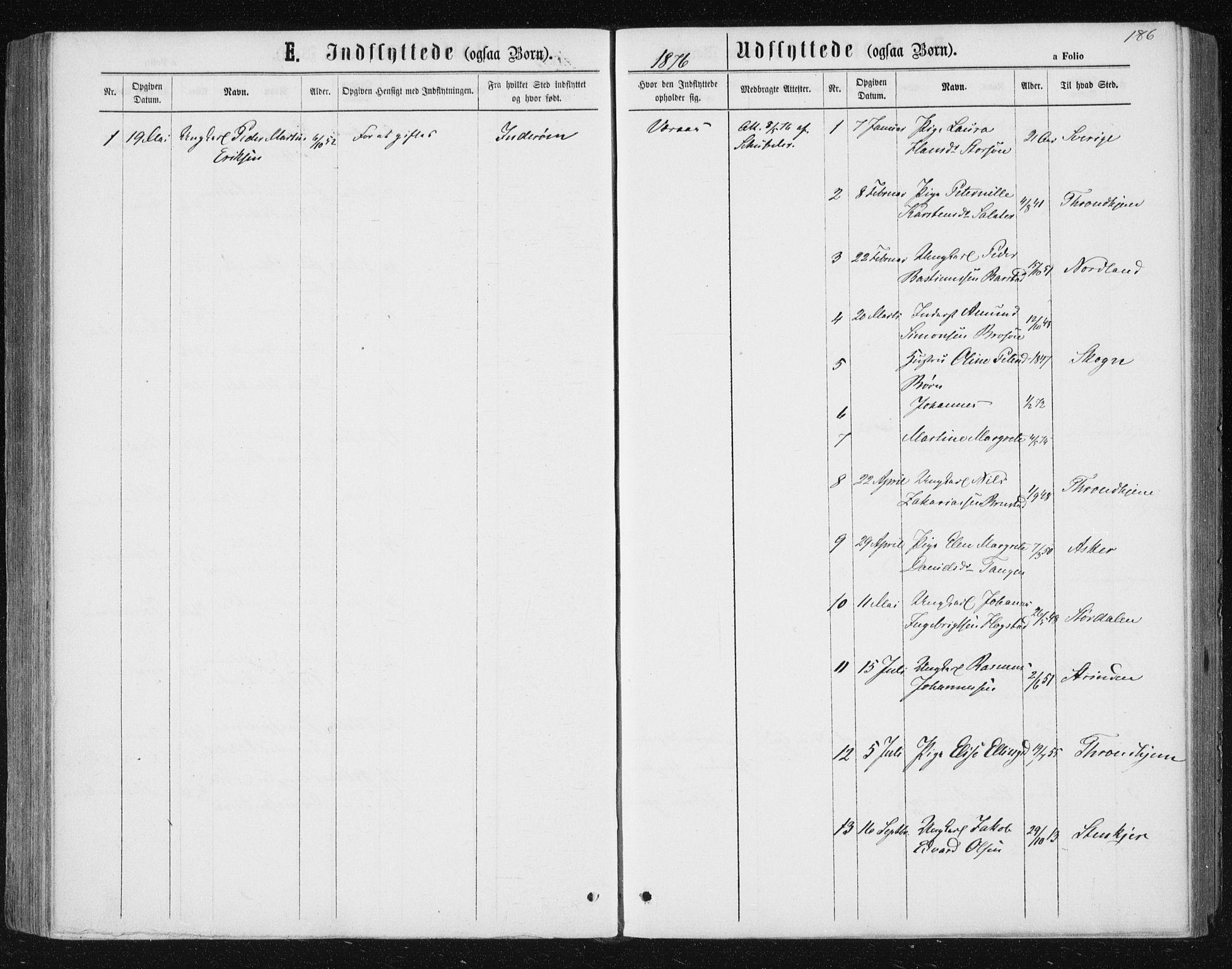 SAT, Ministerialprotokoller, klokkerbøker og fødselsregistre - Nord-Trøndelag, 722/L0219: Ministerialbok nr. 722A06, 1868-1880, s. 186