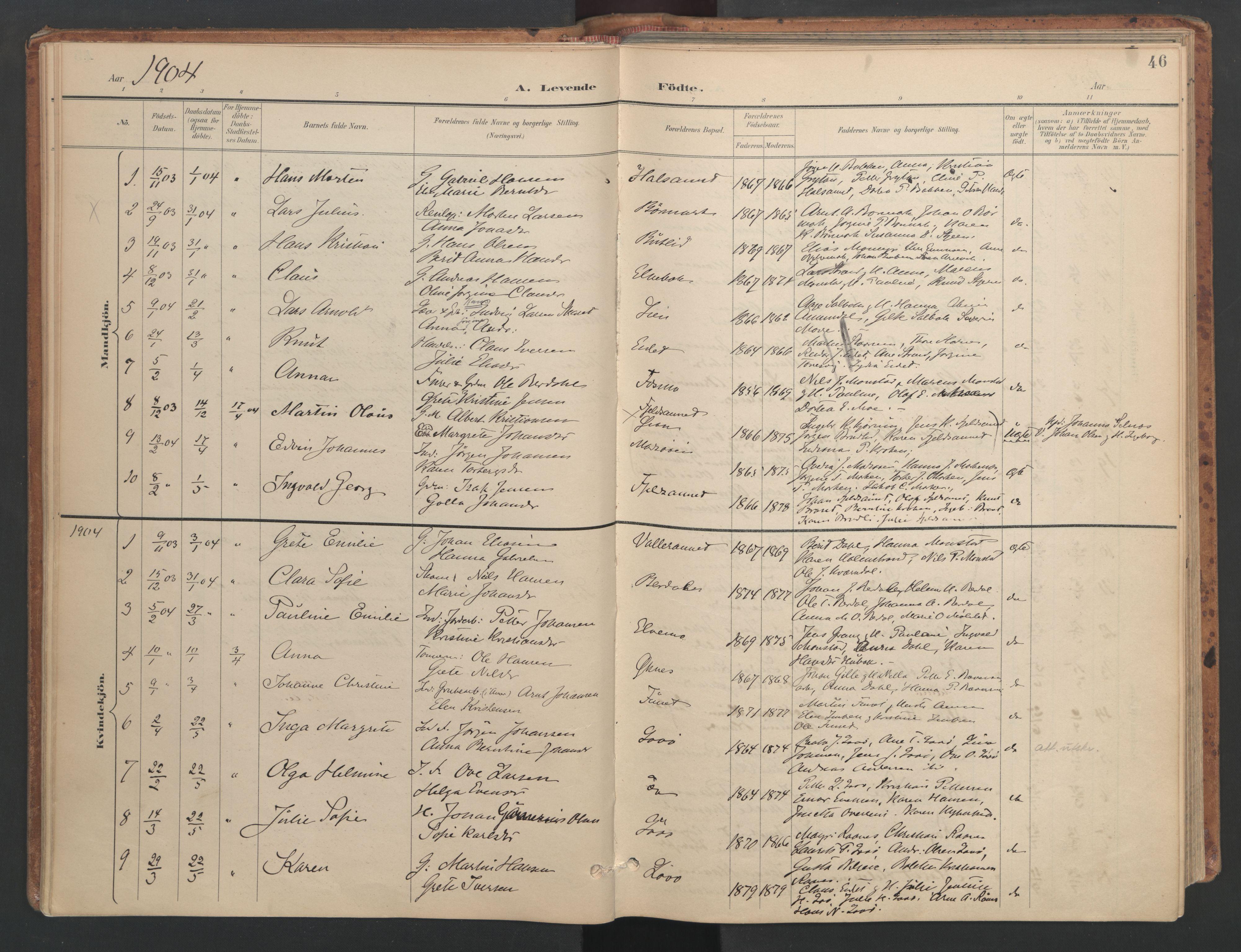 SAT, Ministerialprotokoller, klokkerbøker og fødselsregistre - Sør-Trøndelag, 655/L0681: Ministerialbok nr. 655A10, 1895-1907, s. 46