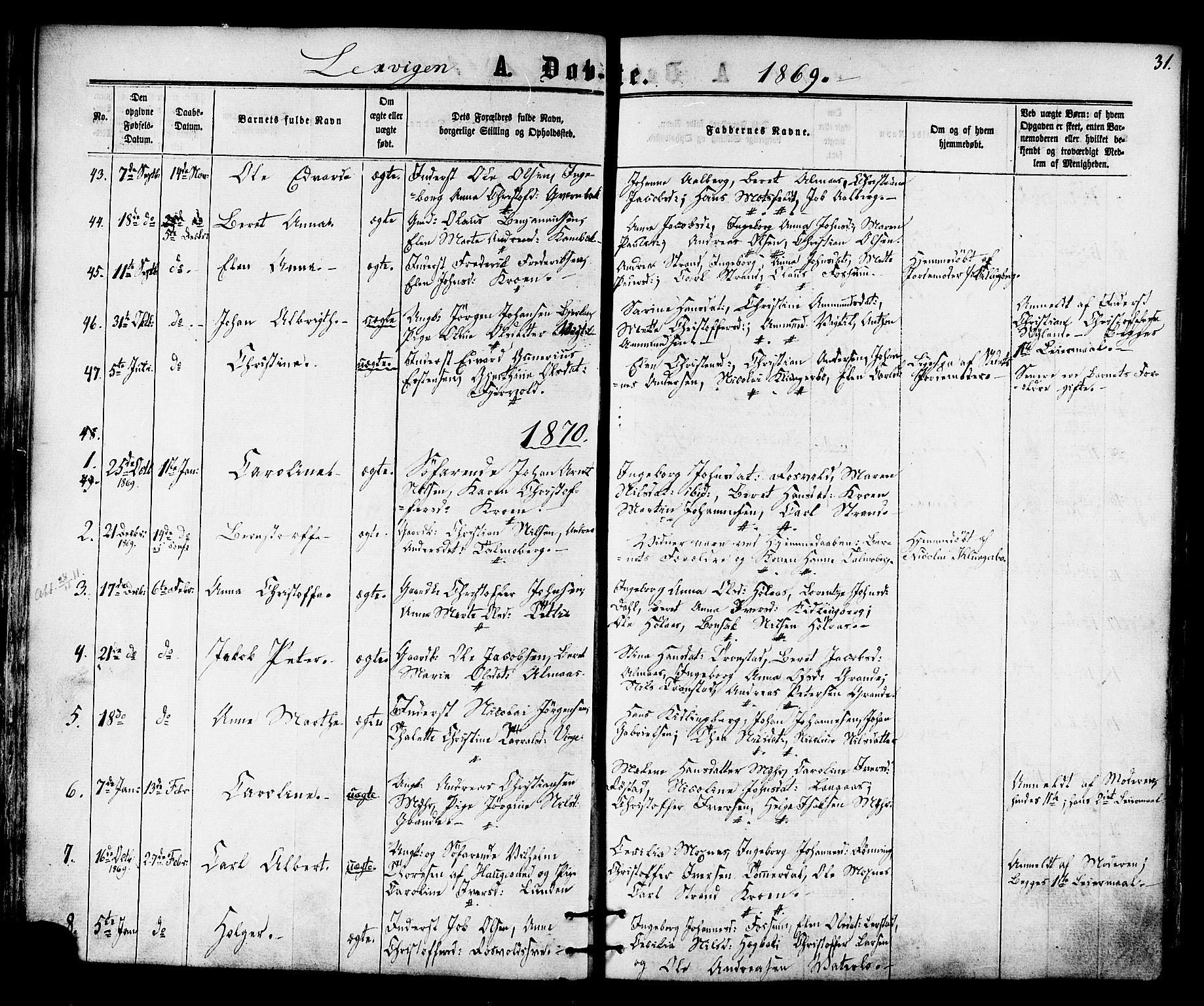 SAT, Ministerialprotokoller, klokkerbøker og fødselsregistre - Nord-Trøndelag, 701/L0009: Ministerialbok nr. 701A09 /1, 1864-1882, s. 31
