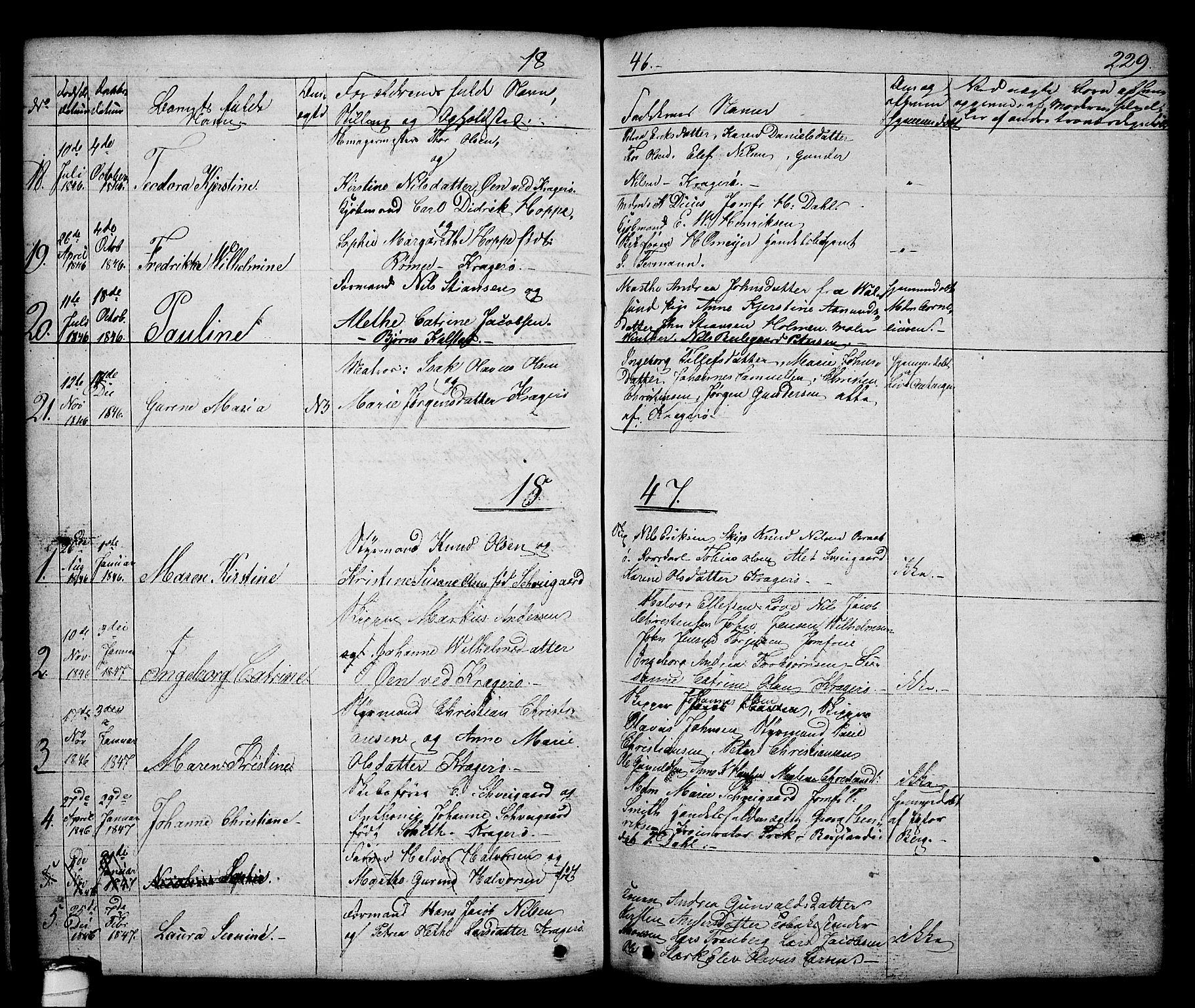 SAKO, Kragerø kirkebøker, G/Ga/L0003: Klokkerbok nr. 3, 1832-1852, s. 229