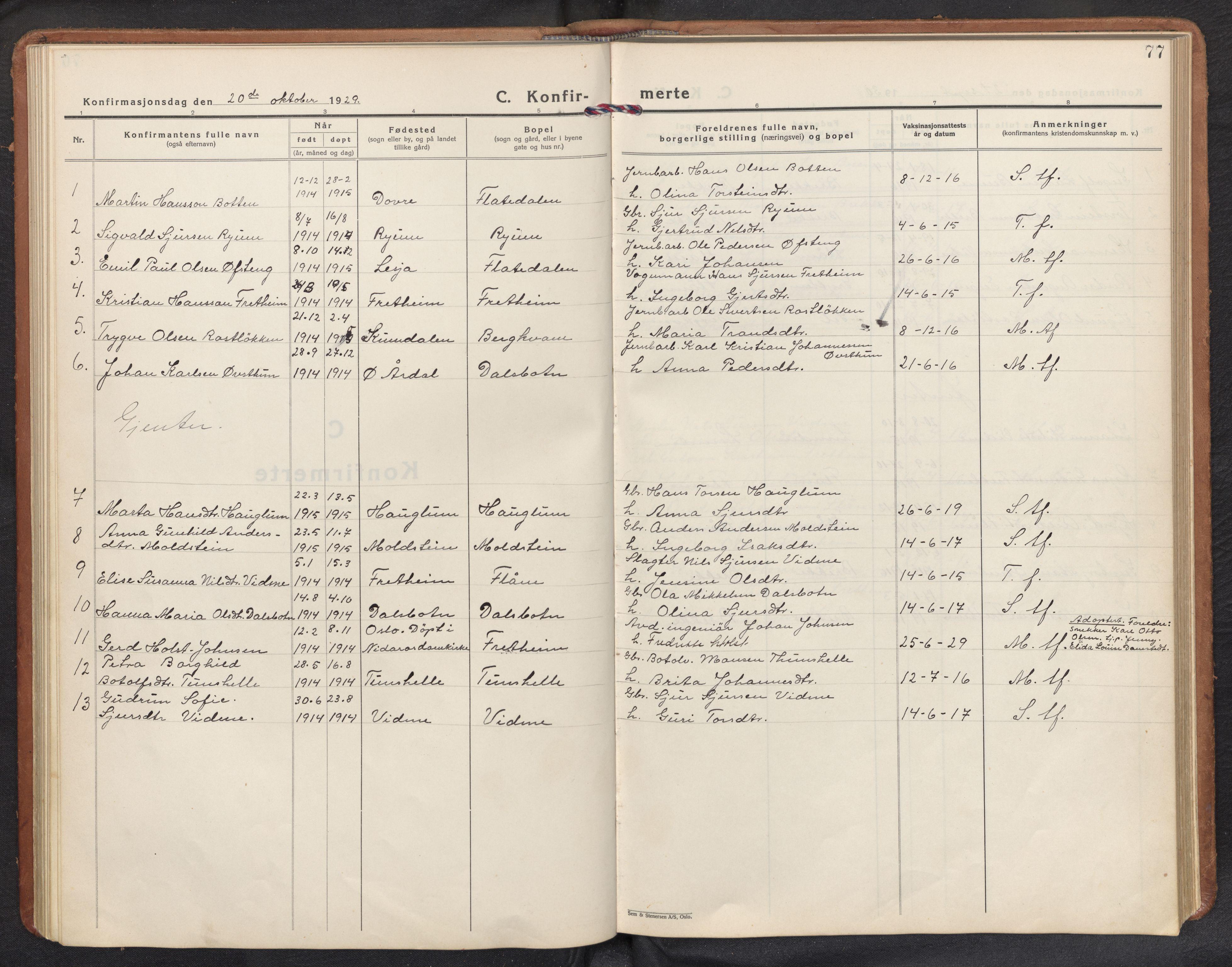 SAB, Aurland sokneprestembete, H/Hb/Hbb/L0003: Klokkerbok nr. B 3, 1929-1972, s. 76b-77a