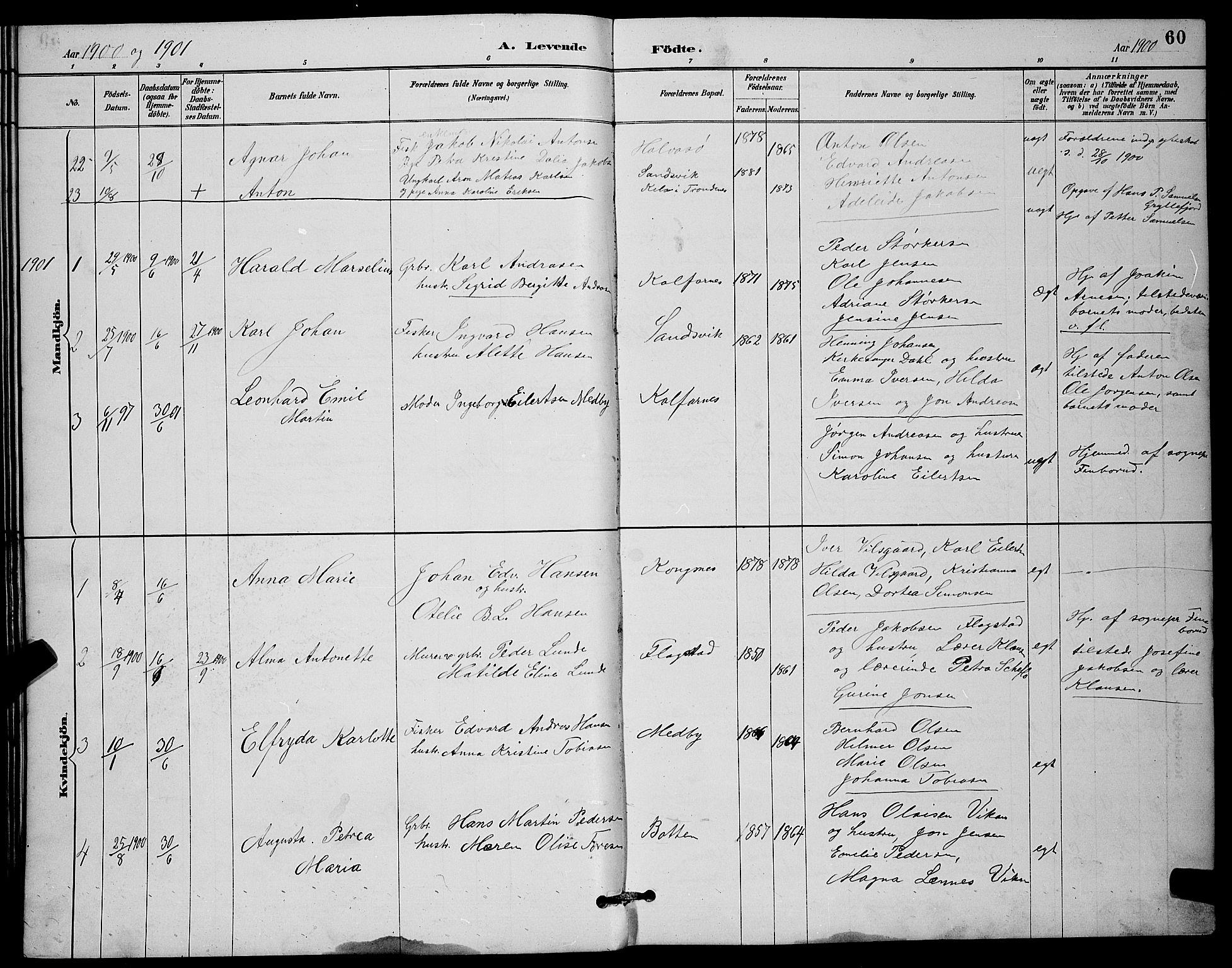 SATØ, Mefjord/Berg sokneprestkontor, G/Ga/Gab/L0012klokker: Klokkerbok nr. 12, 1887-1902, s. 60