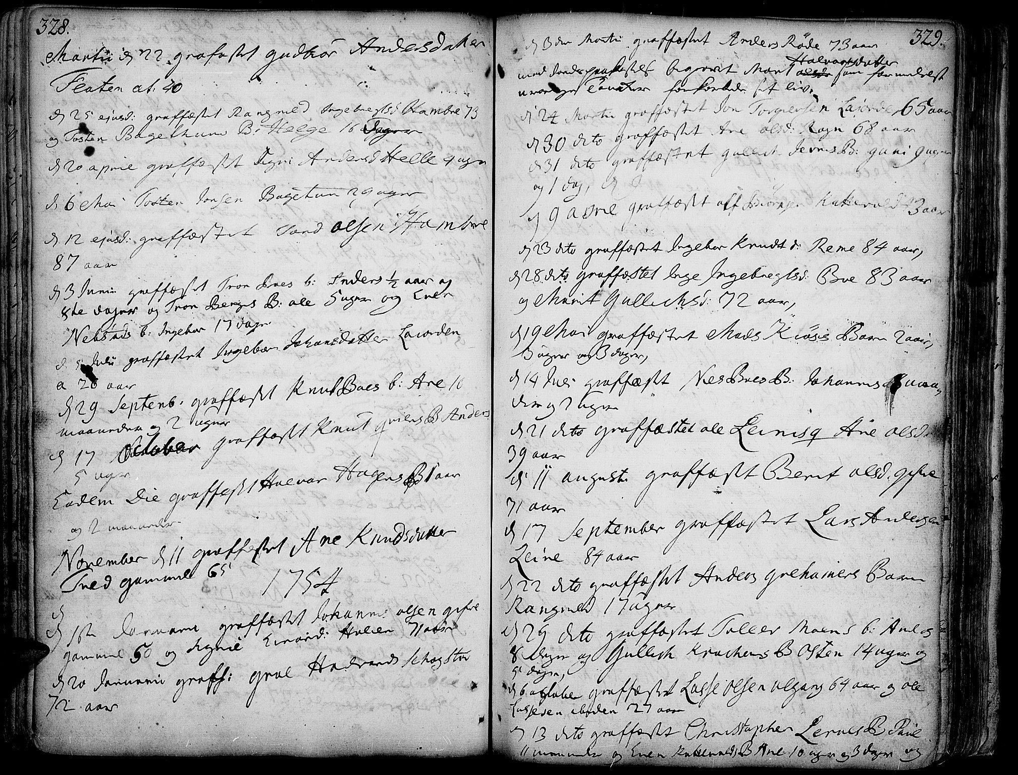 SAH, Vang prestekontor, Valdres, Ministerialbok nr. 1, 1730-1796, s. 328-329