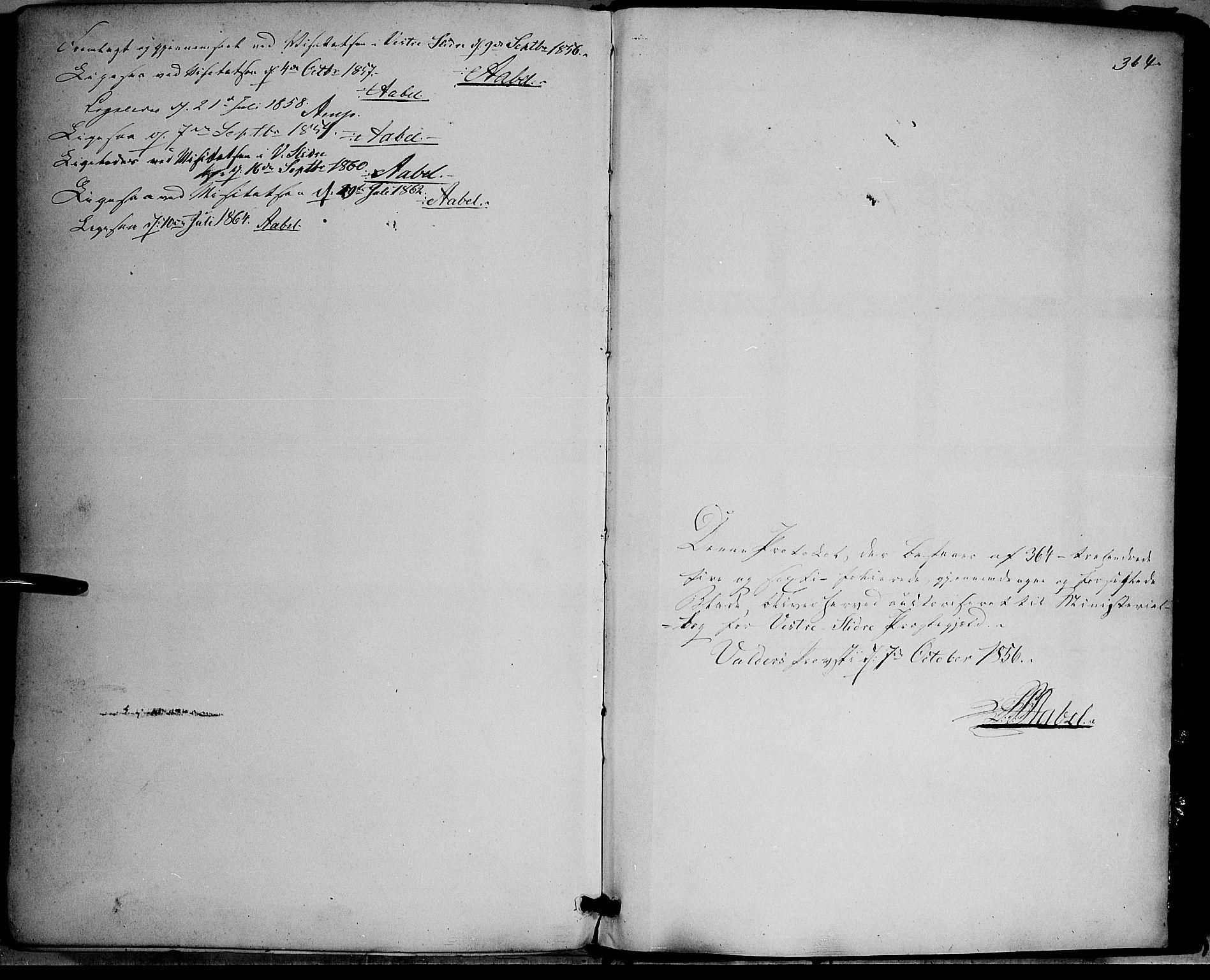 SAH, Vestre Slidre prestekontor, Ministerialbok nr. 2, 1856-1864, s. 364