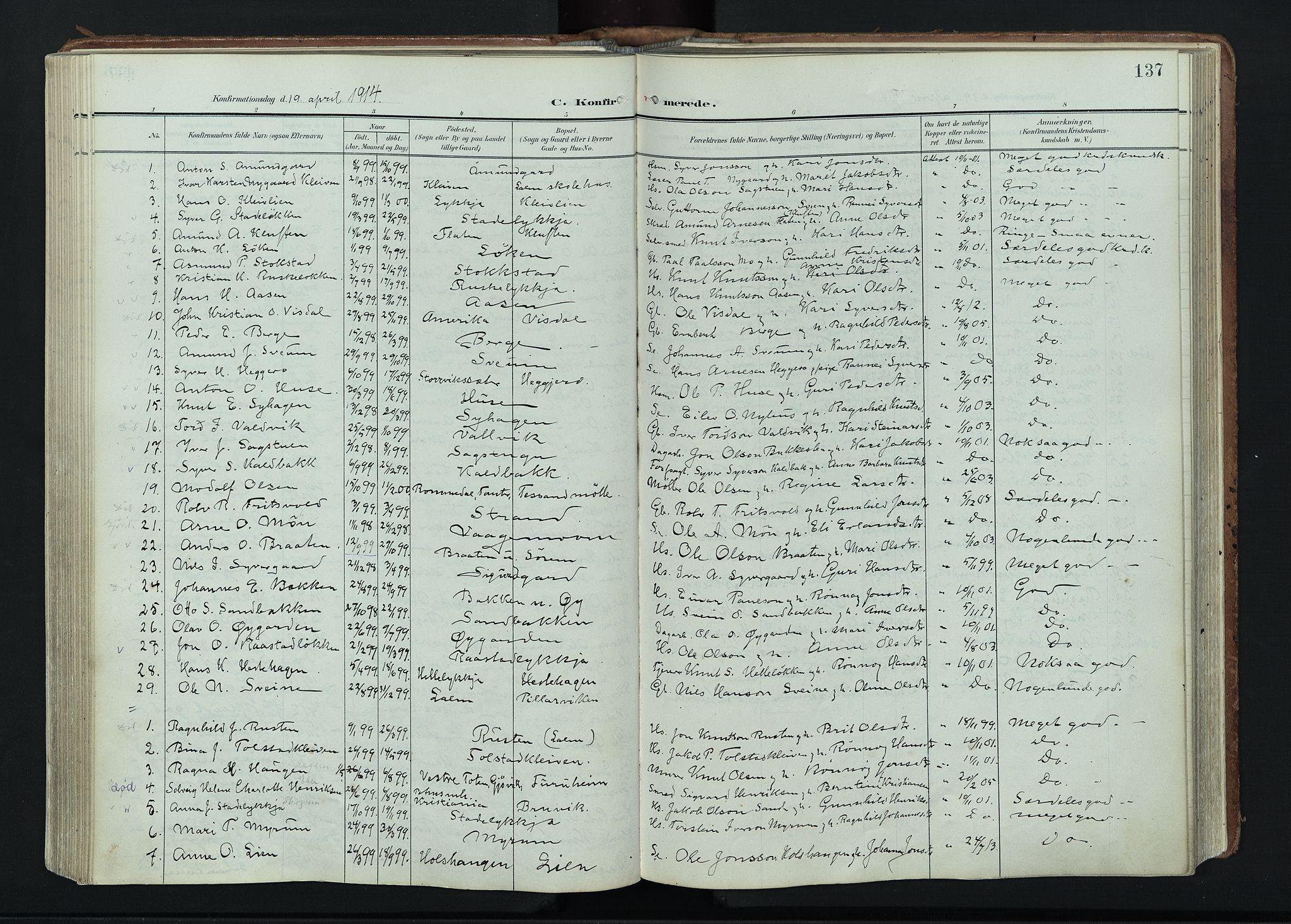 SAH, Vågå prestekontor, Ministerialbok nr. 11, 1905-1924, s. 137