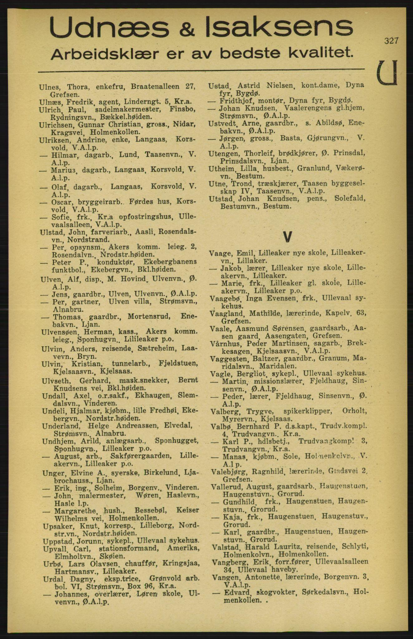 PUBL, Aker adressebok/adressekalender, 1924-1925, s. 327