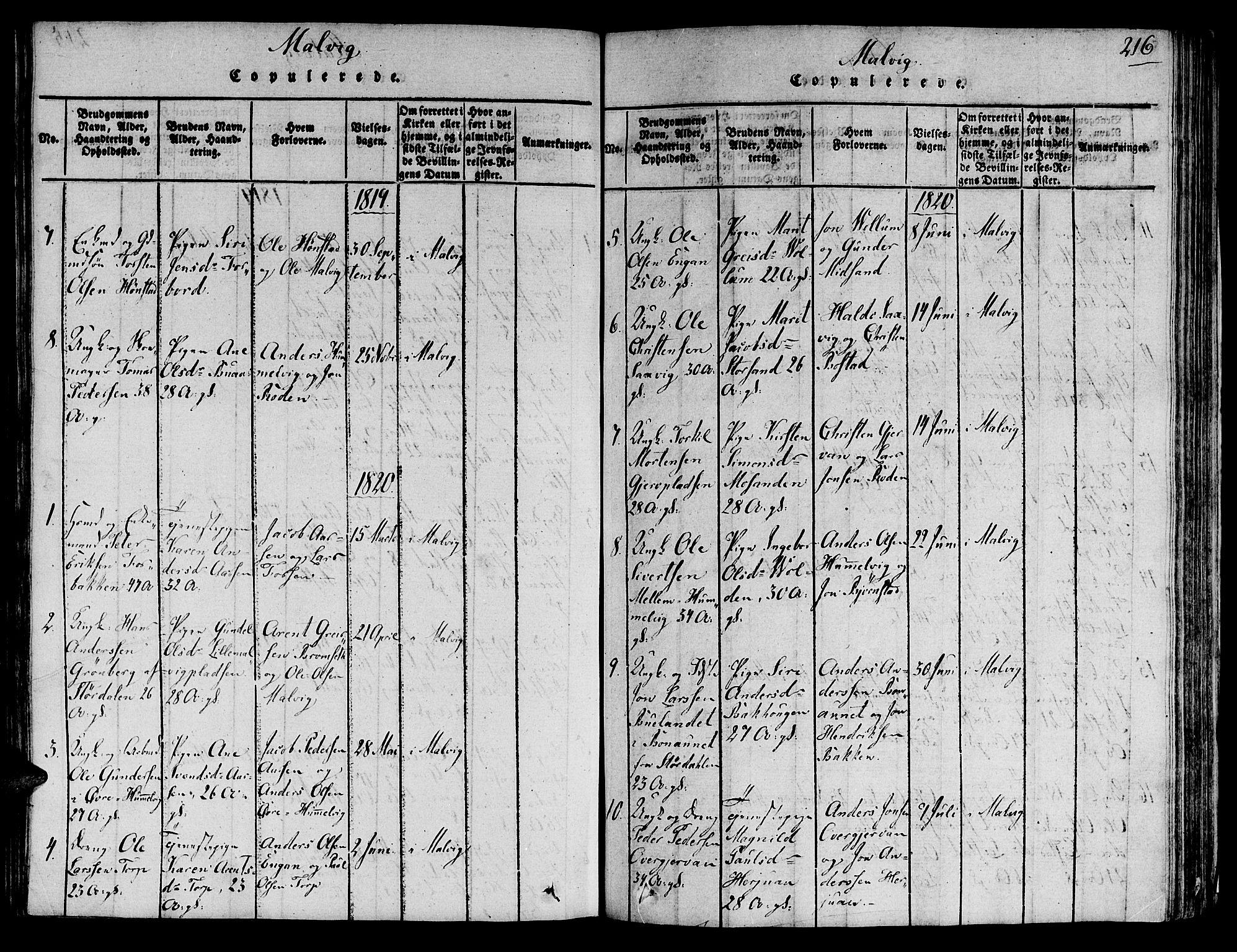 SAT, Ministerialprotokoller, klokkerbøker og fødselsregistre - Sør-Trøndelag, 606/L0284: Ministerialbok nr. 606A03 /2, 1819-1823, s. 216