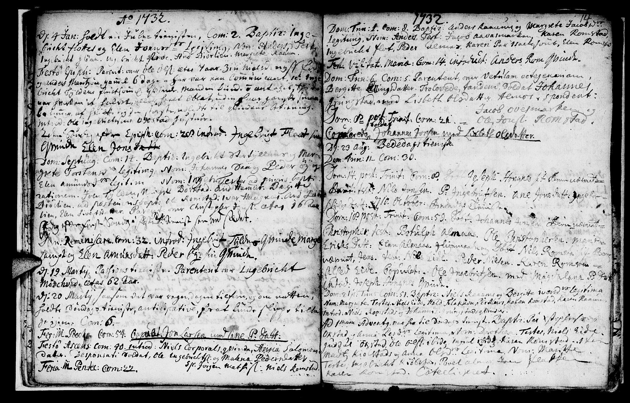 SAT, Ministerialprotokoller, klokkerbøker og fødselsregistre - Nord-Trøndelag, 765/L0560: Ministerialbok nr. 765A01, 1706-1748, s. 14