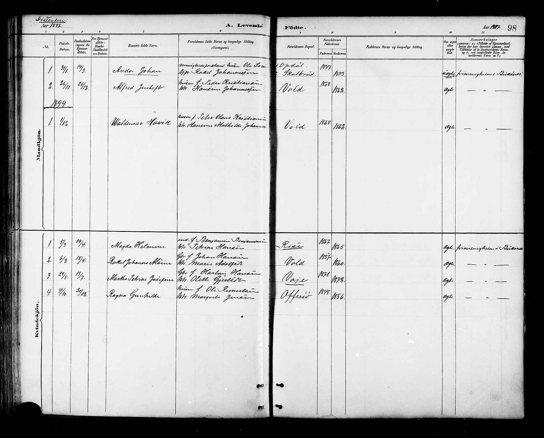 SAT, Ministerialprotokoller, klokkerbøker og fødselsregistre - Nordland, 881/L1167: Klokkerbok nr. 881C04, 1886-1899, s. 98