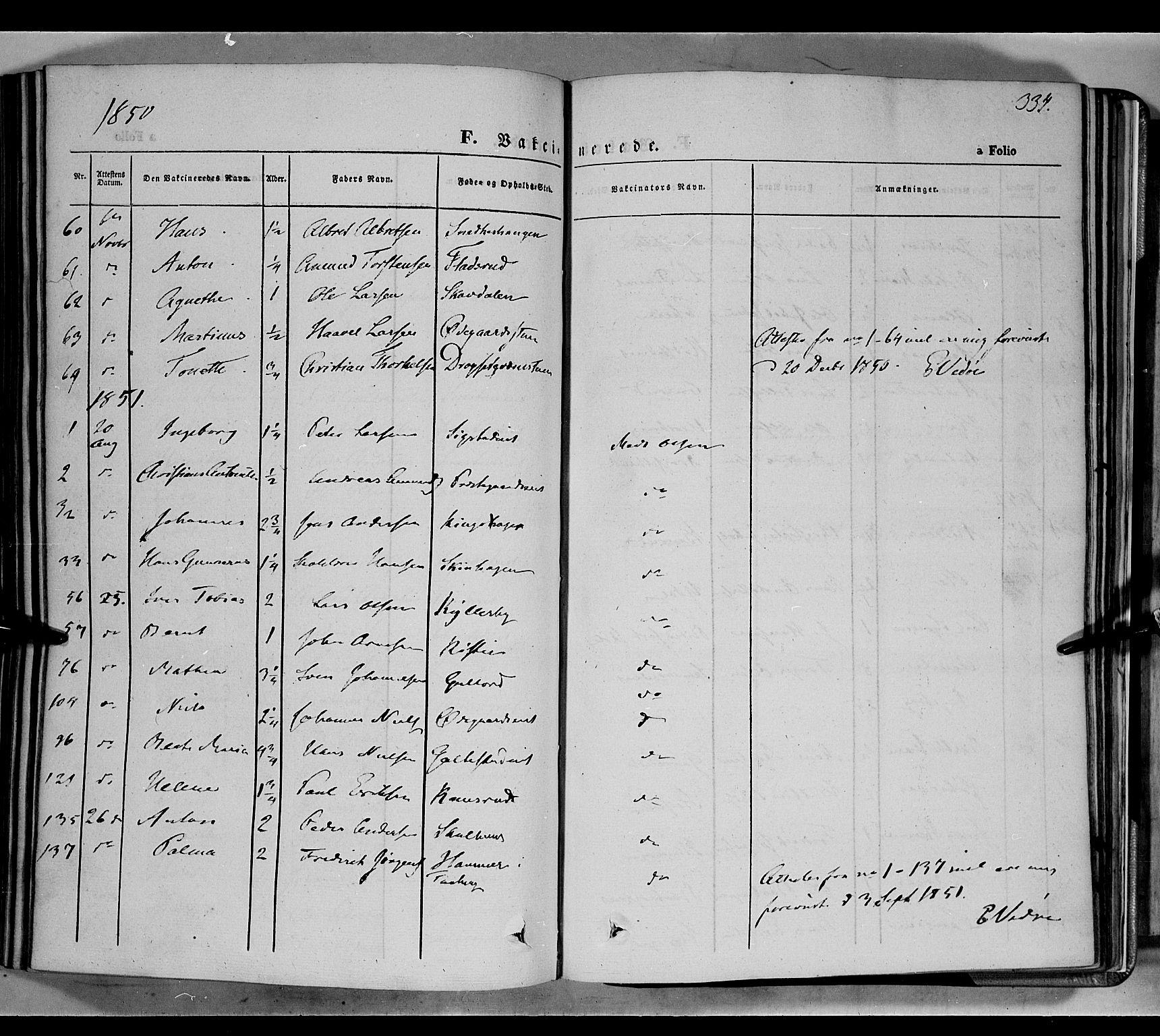 SAH, Biri prestekontor, Ministerialbok nr. 5, 1843-1854, s. 334