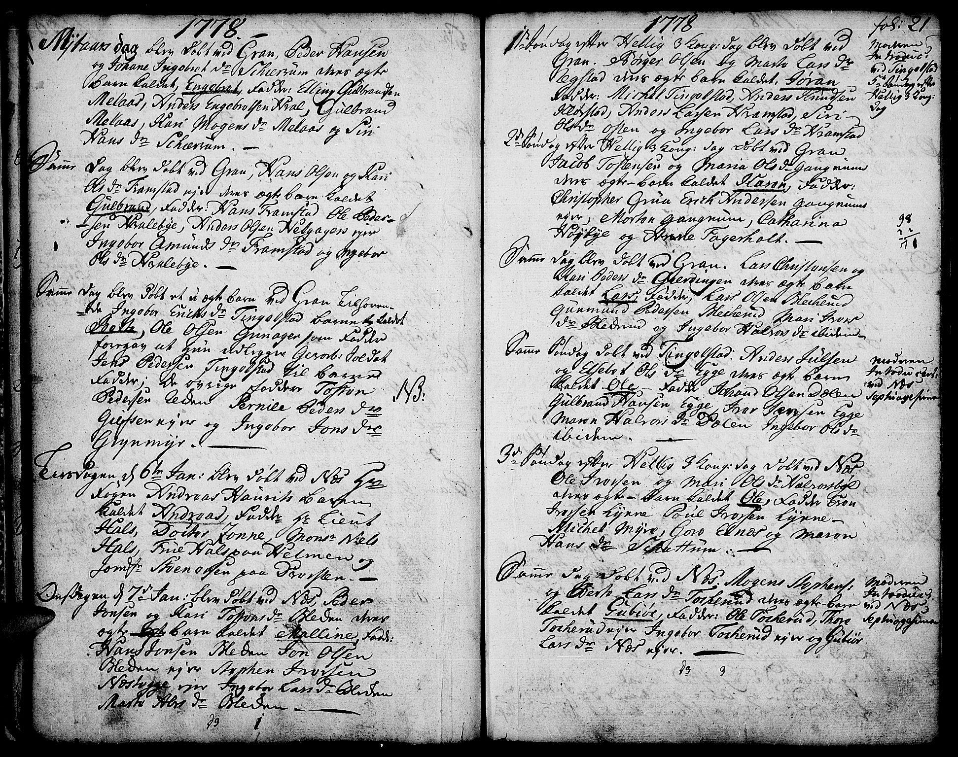 SAH, Gran prestekontor, Ministerialbok nr. 5, 1776-1788, s. 21