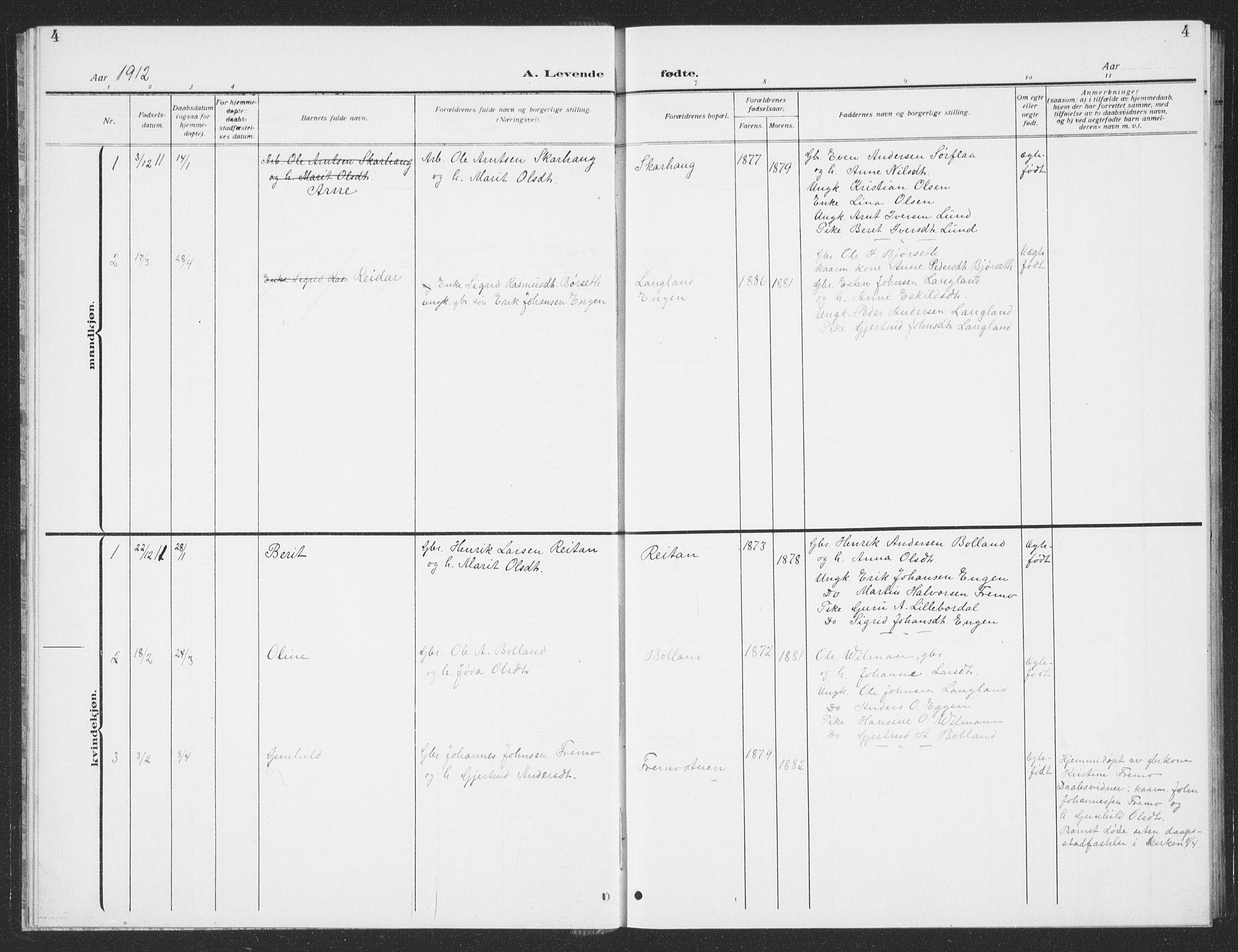 SAT, Ministerialprotokoller, klokkerbøker og fødselsregistre - Sør-Trøndelag, 693/L1124: Klokkerbok nr. 693C05, 1911-1941, s. 4
