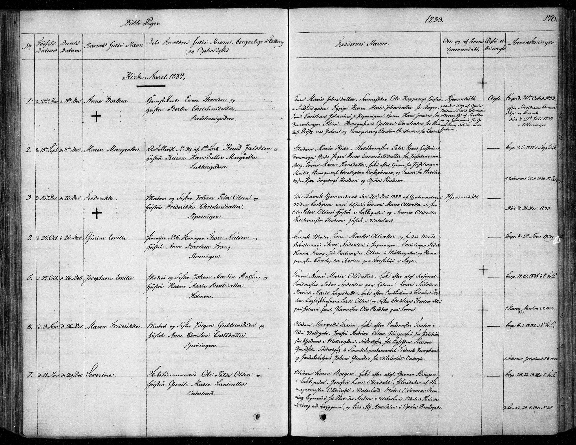 SAO, Garnisonsmenigheten Kirkebøker, F/Fa/L0006: Ministerialbok nr. 6, 1828-1841, s. 170