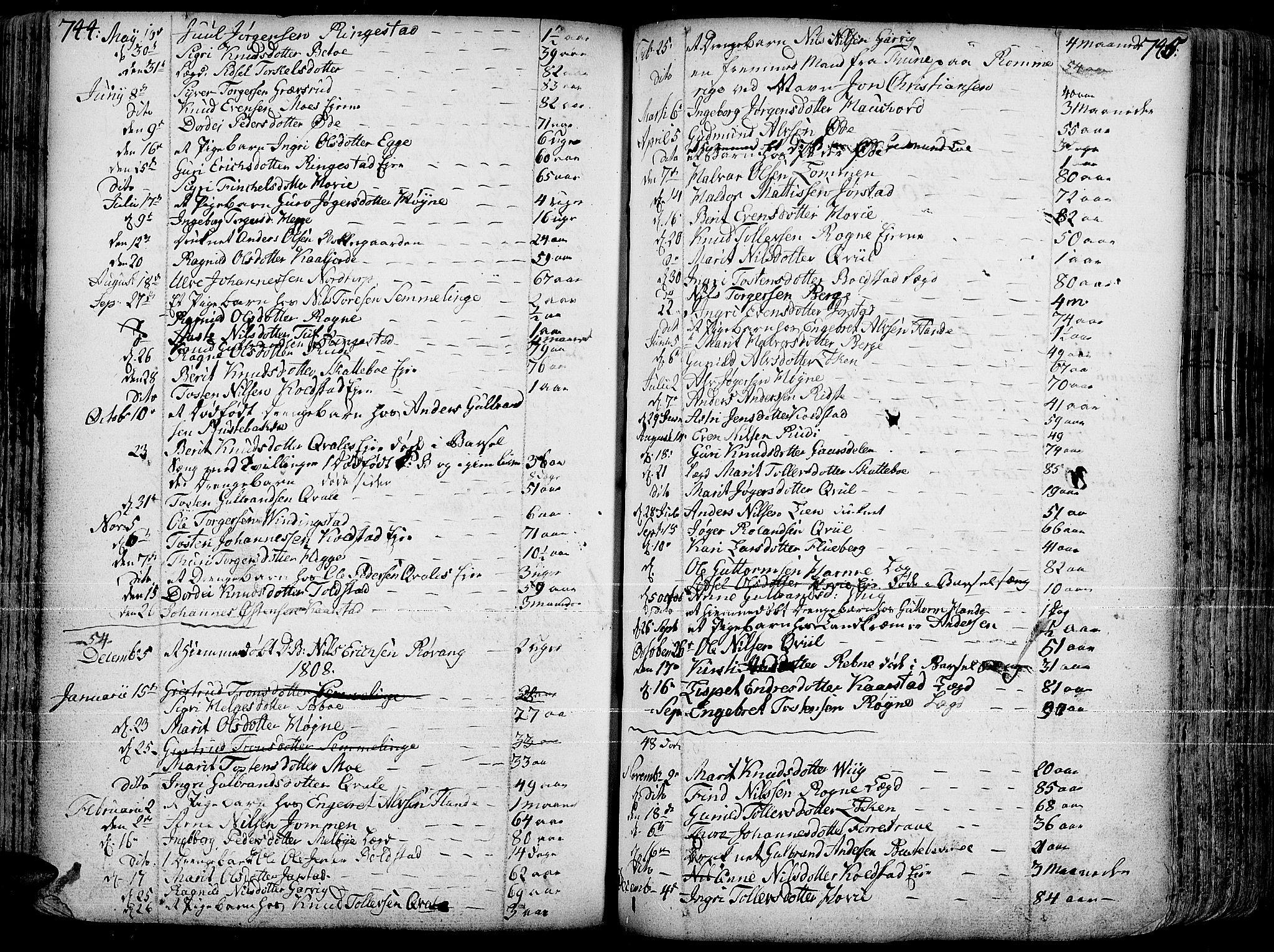 SAH, Slidre prestekontor, Ministerialbok nr. 1, 1724-1814, s. 744-745