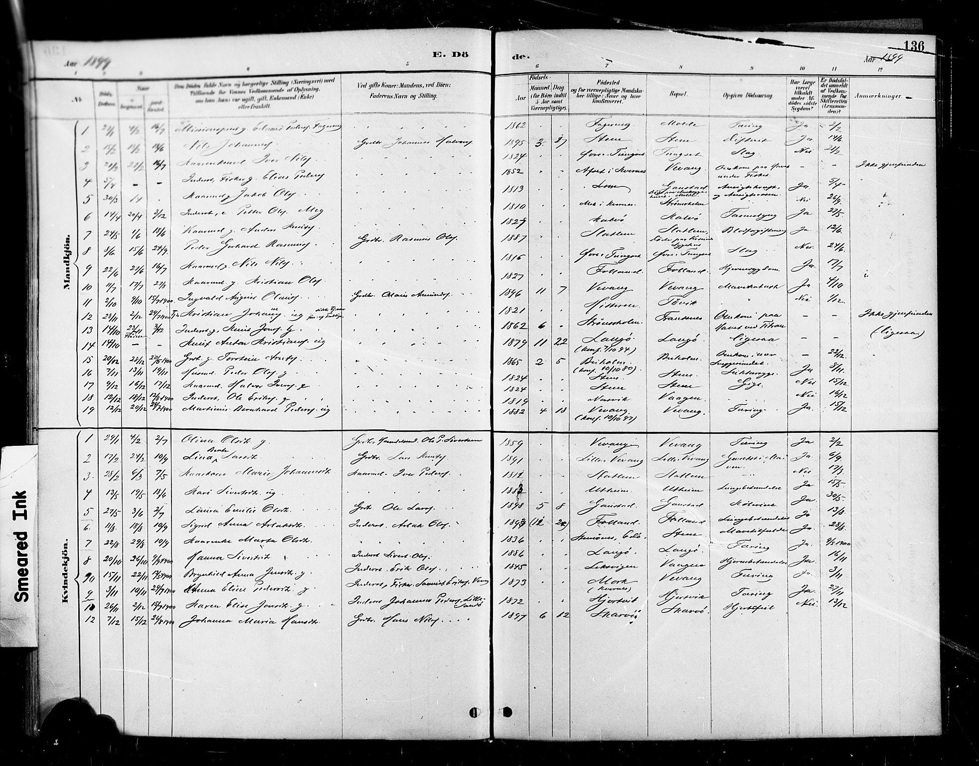 SAT, Ministerialprotokoller, klokkerbøker og fødselsregistre - Møre og Romsdal, 570/L0832: Ministerialbok nr. 570A06, 1885-1900, s. 136