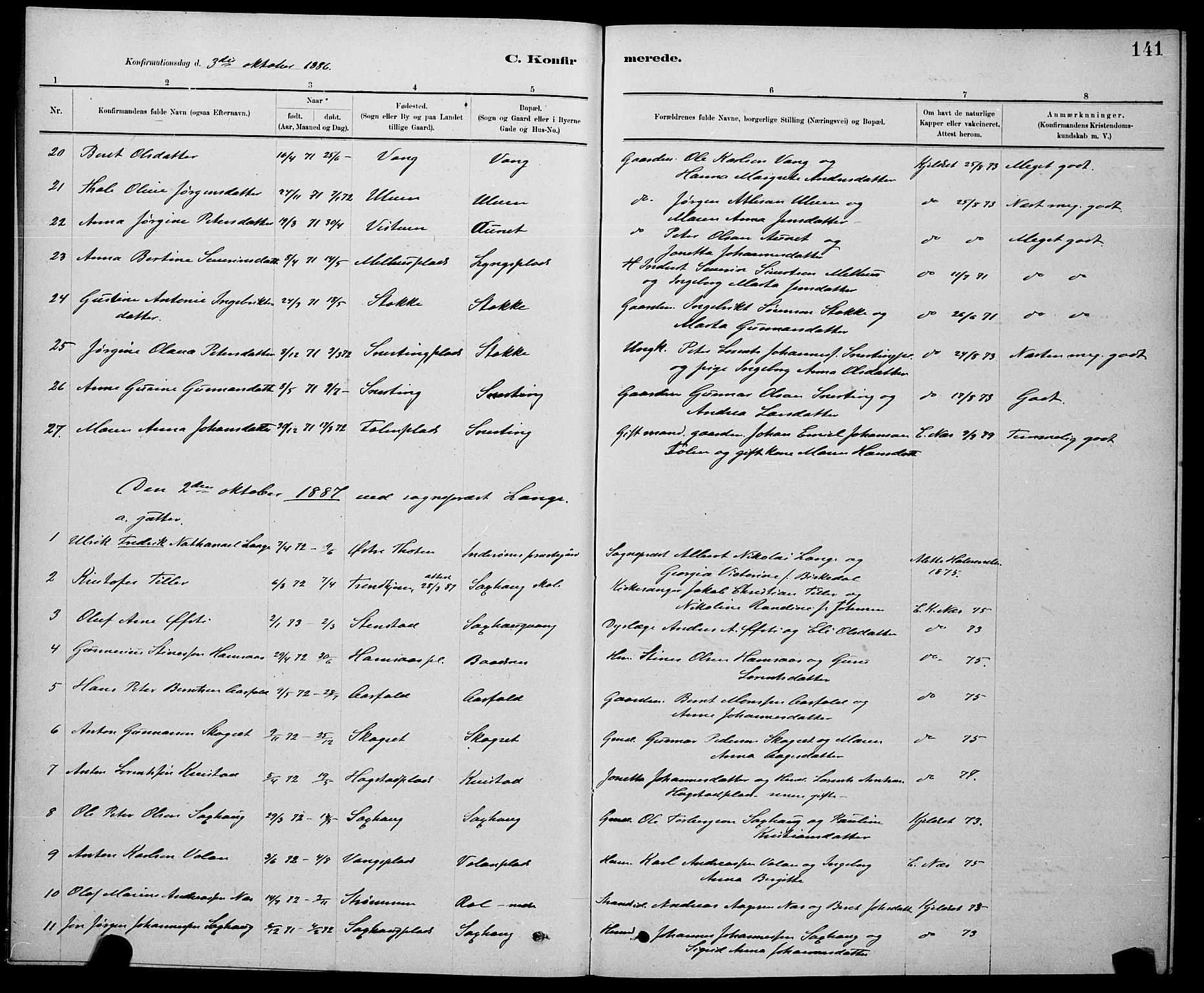SAT, Ministerialprotokoller, klokkerbøker og fødselsregistre - Nord-Trøndelag, 730/L0301: Klokkerbok nr. 730C04, 1880-1897, s. 141