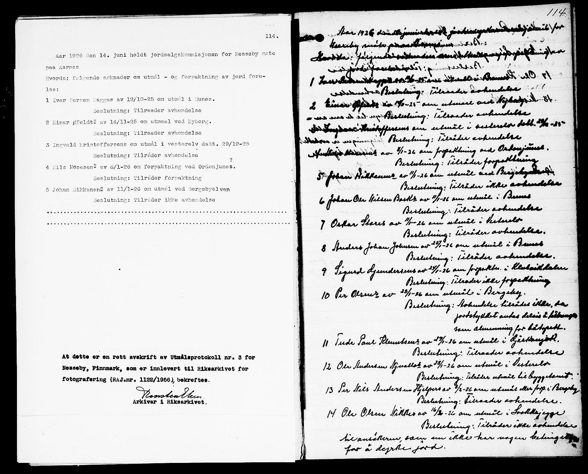 FIEI, Lensmannen i Nesseby (hos Finnmarkseiendommen)*, 1914-1929, s. 114
