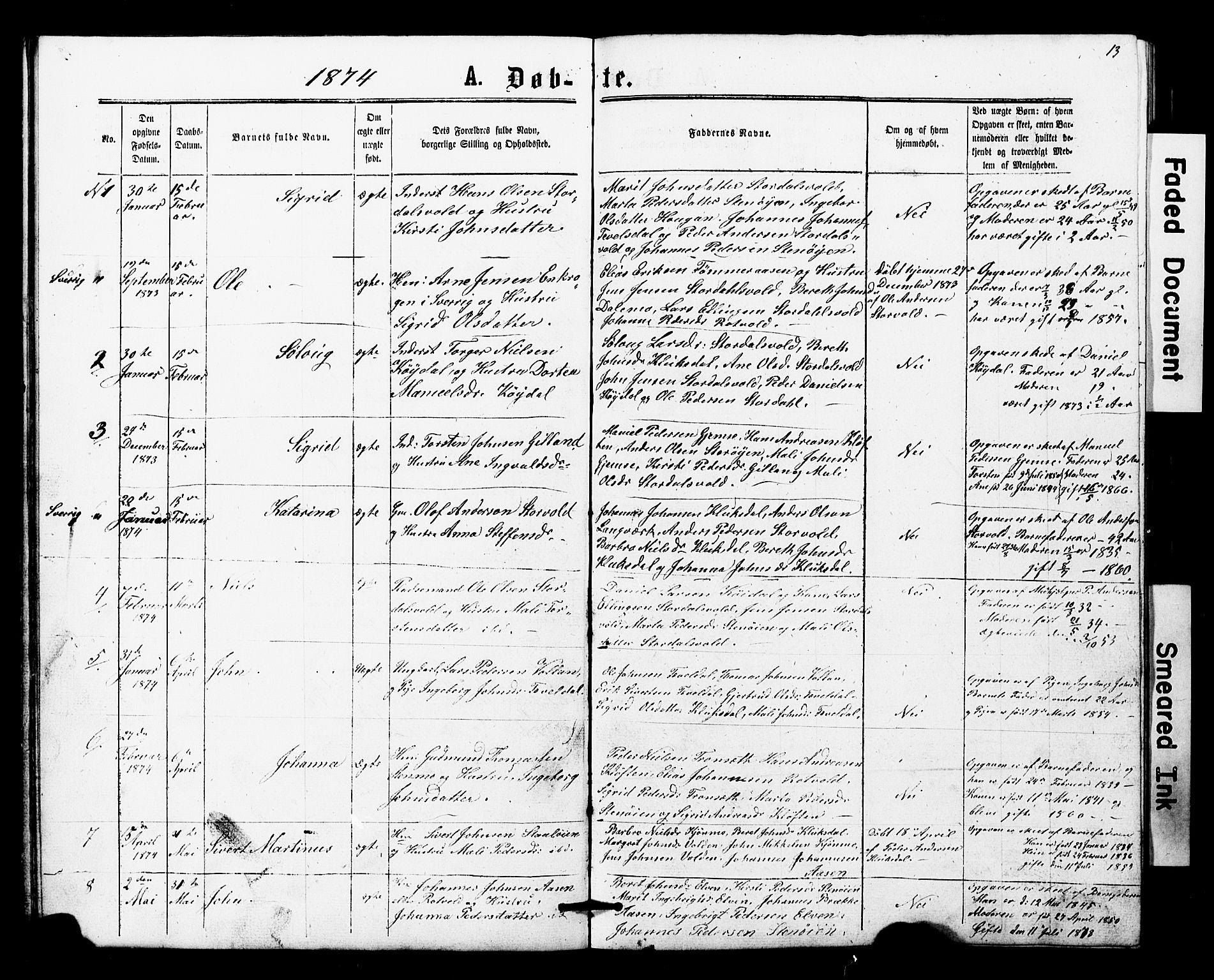 SAT, Ministerialprotokoller, klokkerbøker og fødselsregistre - Nord-Trøndelag, 707/L0052: Klokkerbok nr. 707C01, 1864-1897, s. 13