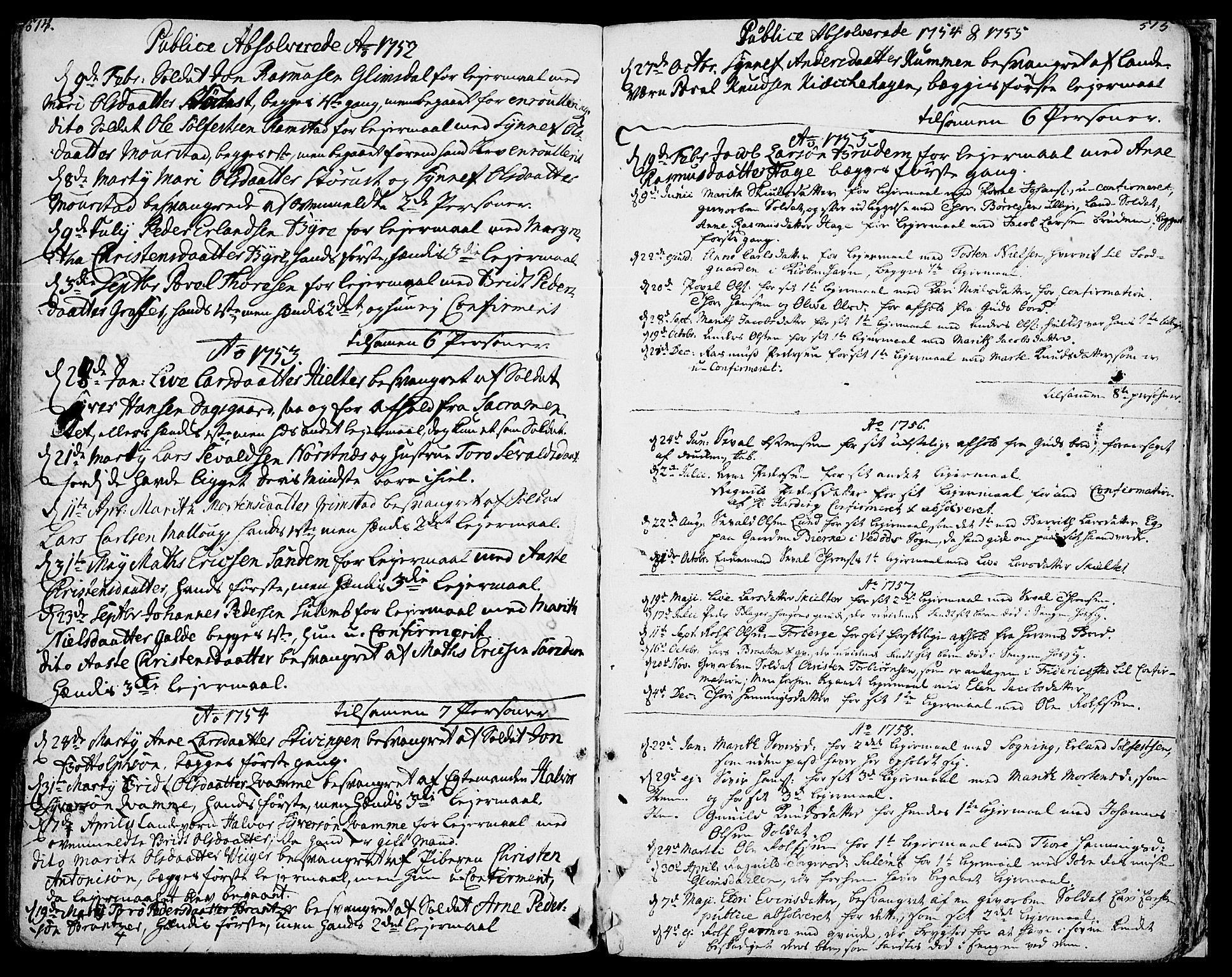SAH, Lom prestekontor, K/L0002: Ministerialbok nr. 2, 1749-1801, s. 514-515