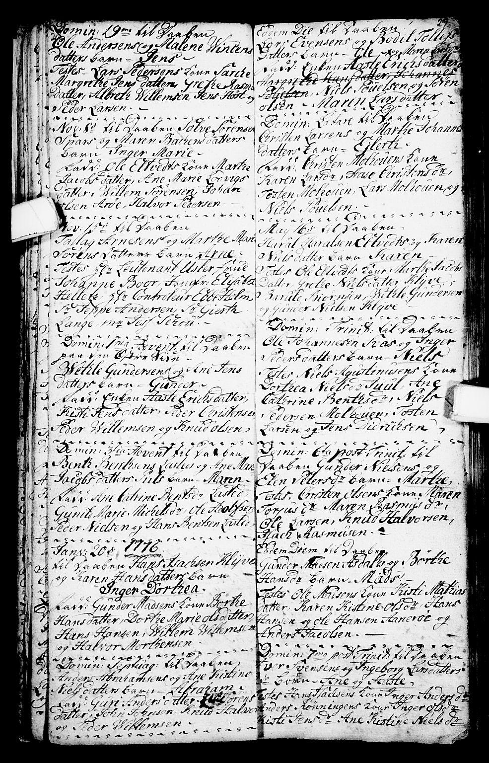 SAKO, Porsgrunn kirkebøker , G/Ga/L0001: Klokkerbok nr. I 1, 1766-1790, s. 28-29