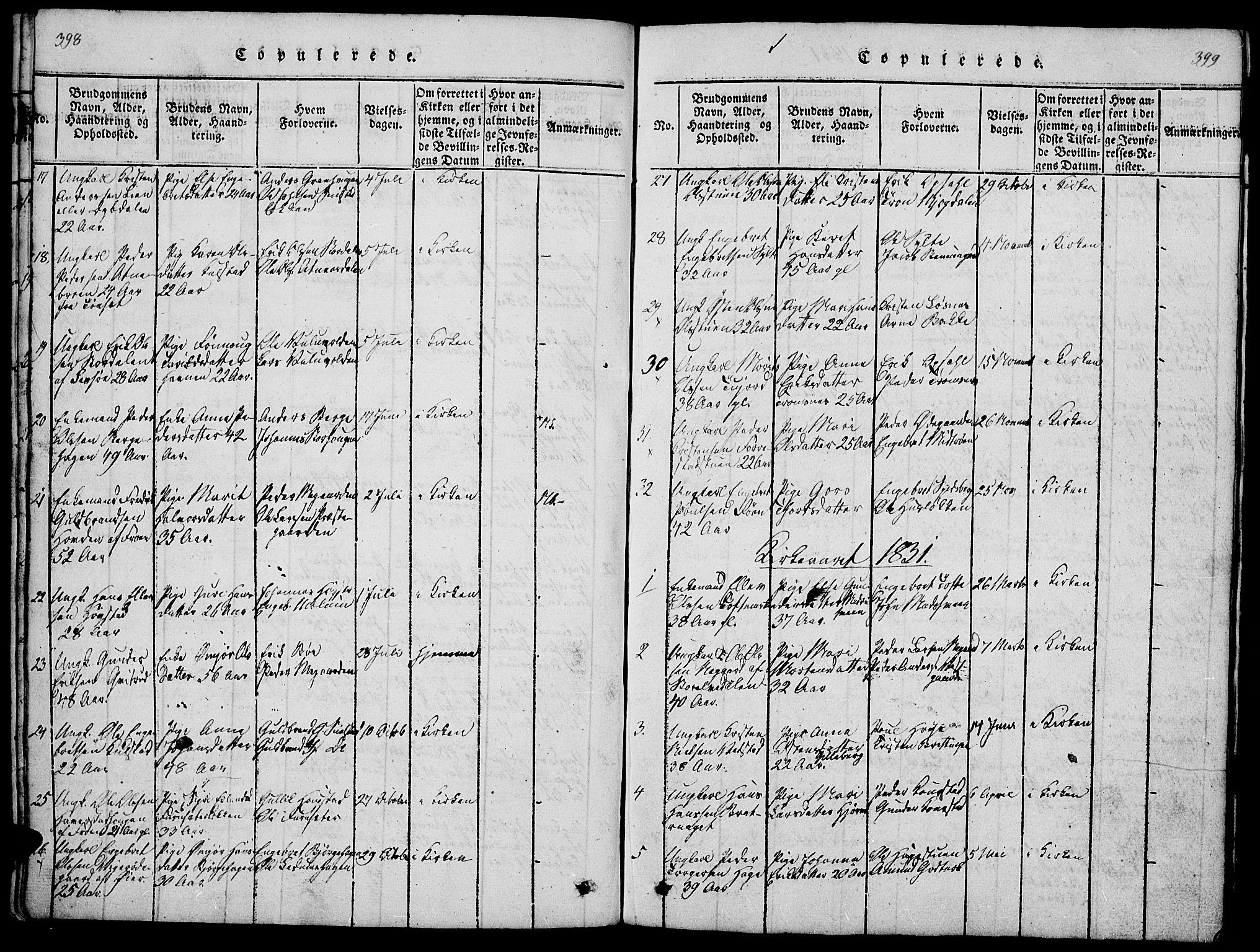 SAH, Ringebu prestekontor, Klokkerbok nr. 1, 1821-1839, s. 398-399