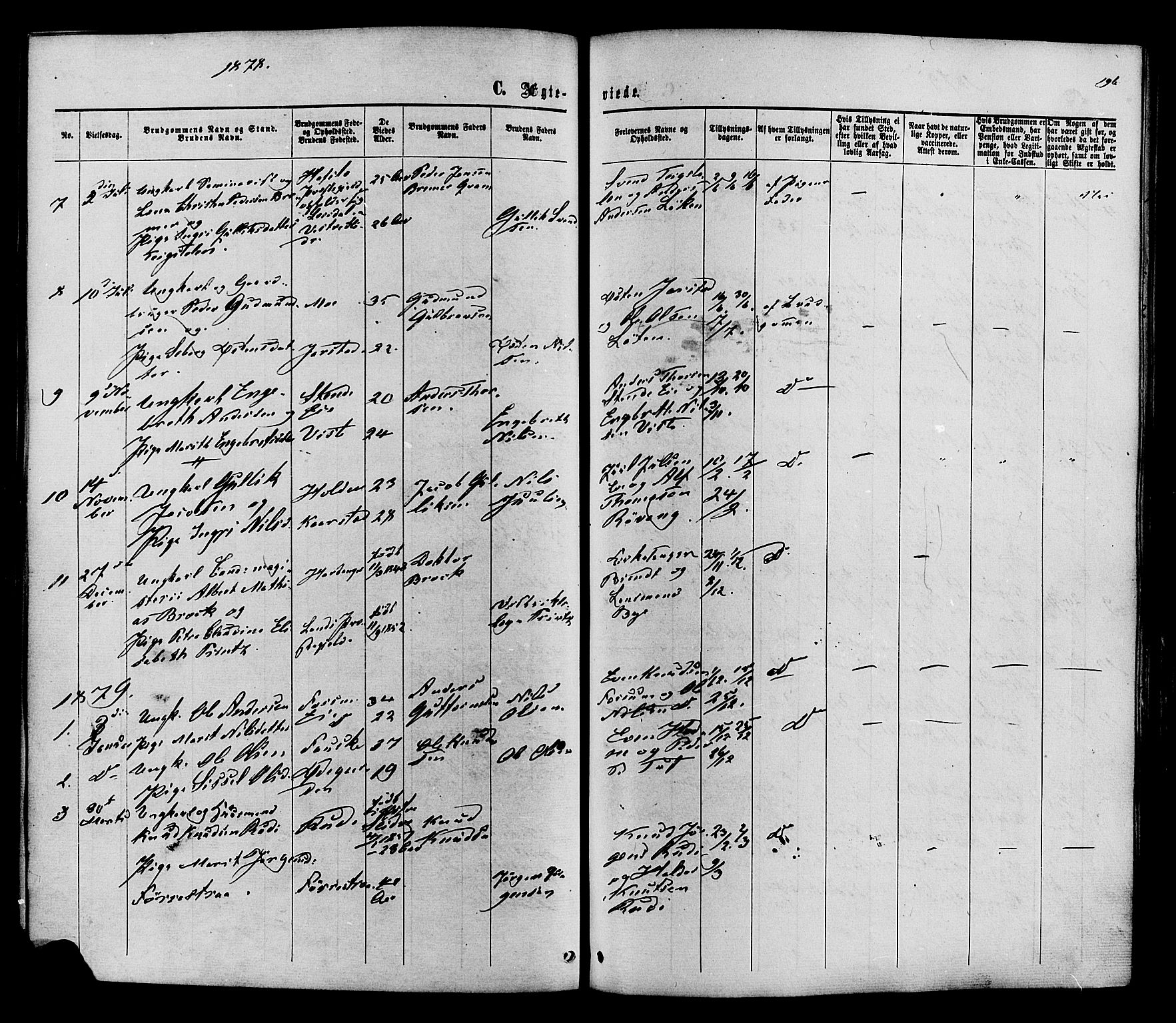 SAH, Vestre Slidre prestekontor, Ministerialbok nr. 3, 1865-1880, s. 196