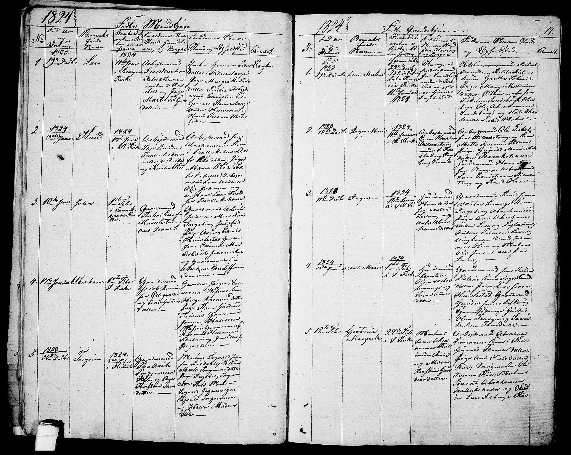 SAKO, Sannidal kirkebøker, F/Fa/L0005: Ministerialbok nr. 5, 1823-1830, s. 14