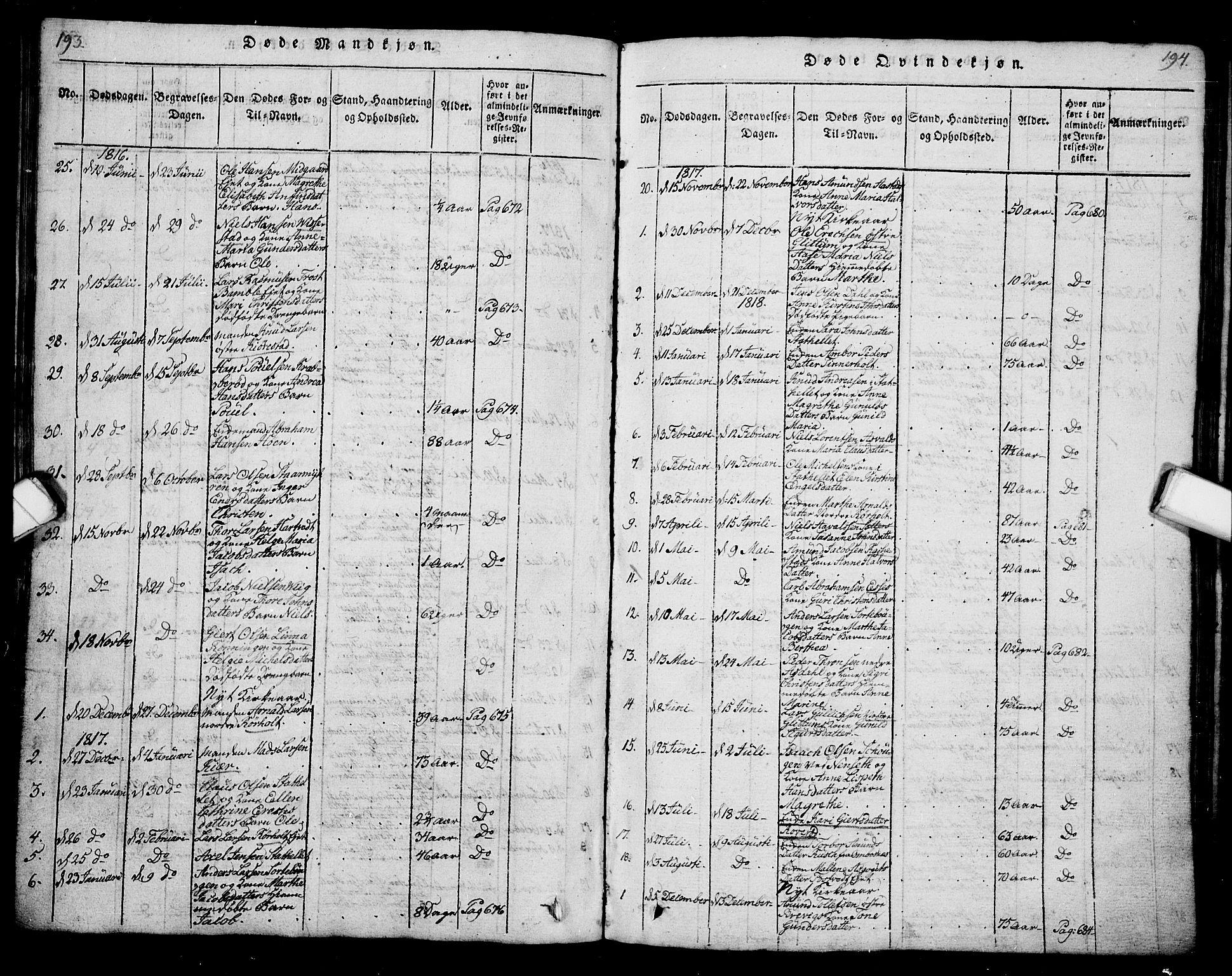 SAKO, Bamble kirkebøker, G/Ga/L0005: Klokkerbok nr. I 5, 1814-1855, s. 193-194