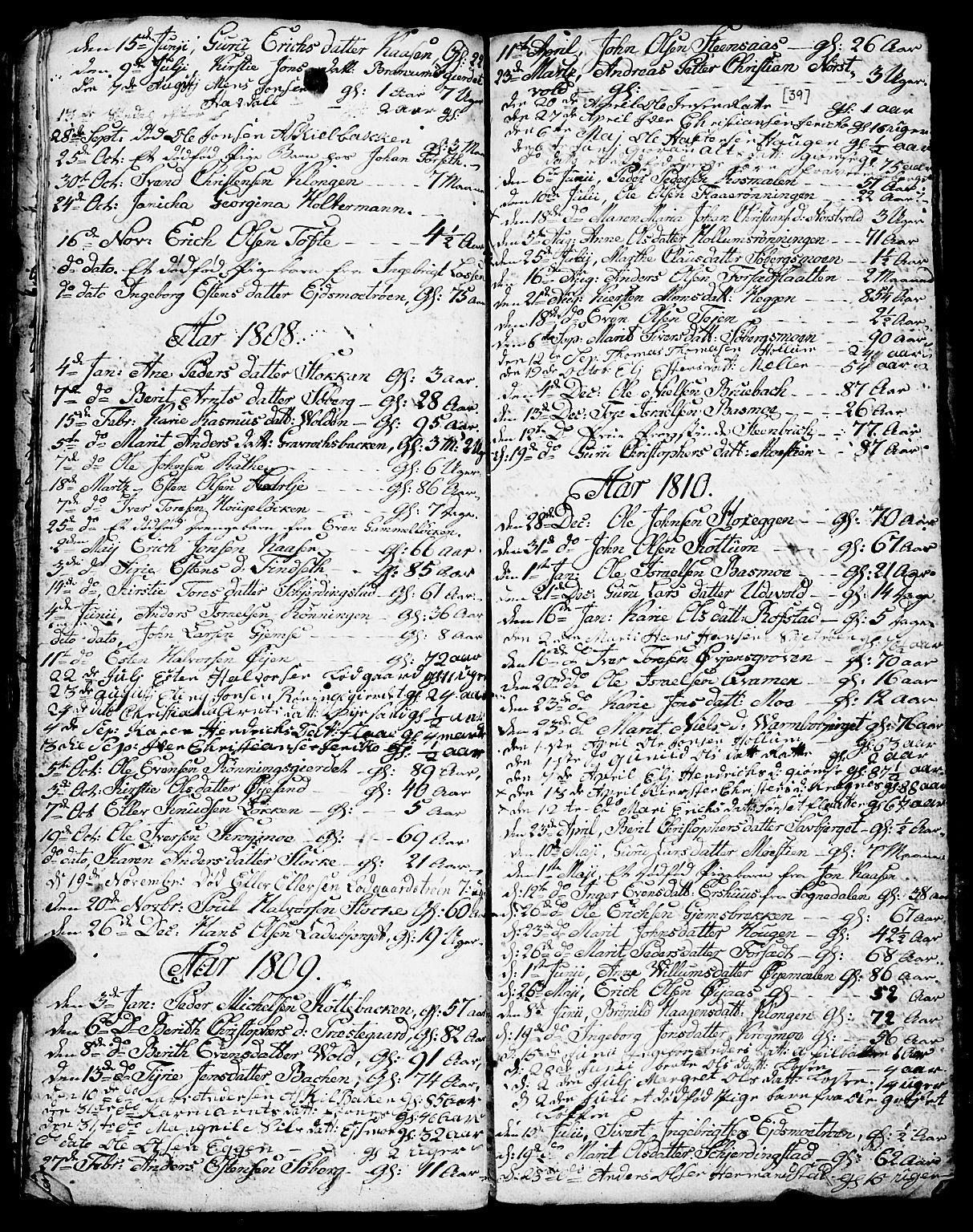 SAT, Ministerialprotokoller, klokkerbøker og fødselsregistre - Sør-Trøndelag, 691/L1091: Klokkerbok nr. 691C02, 1802-1815, s. 39