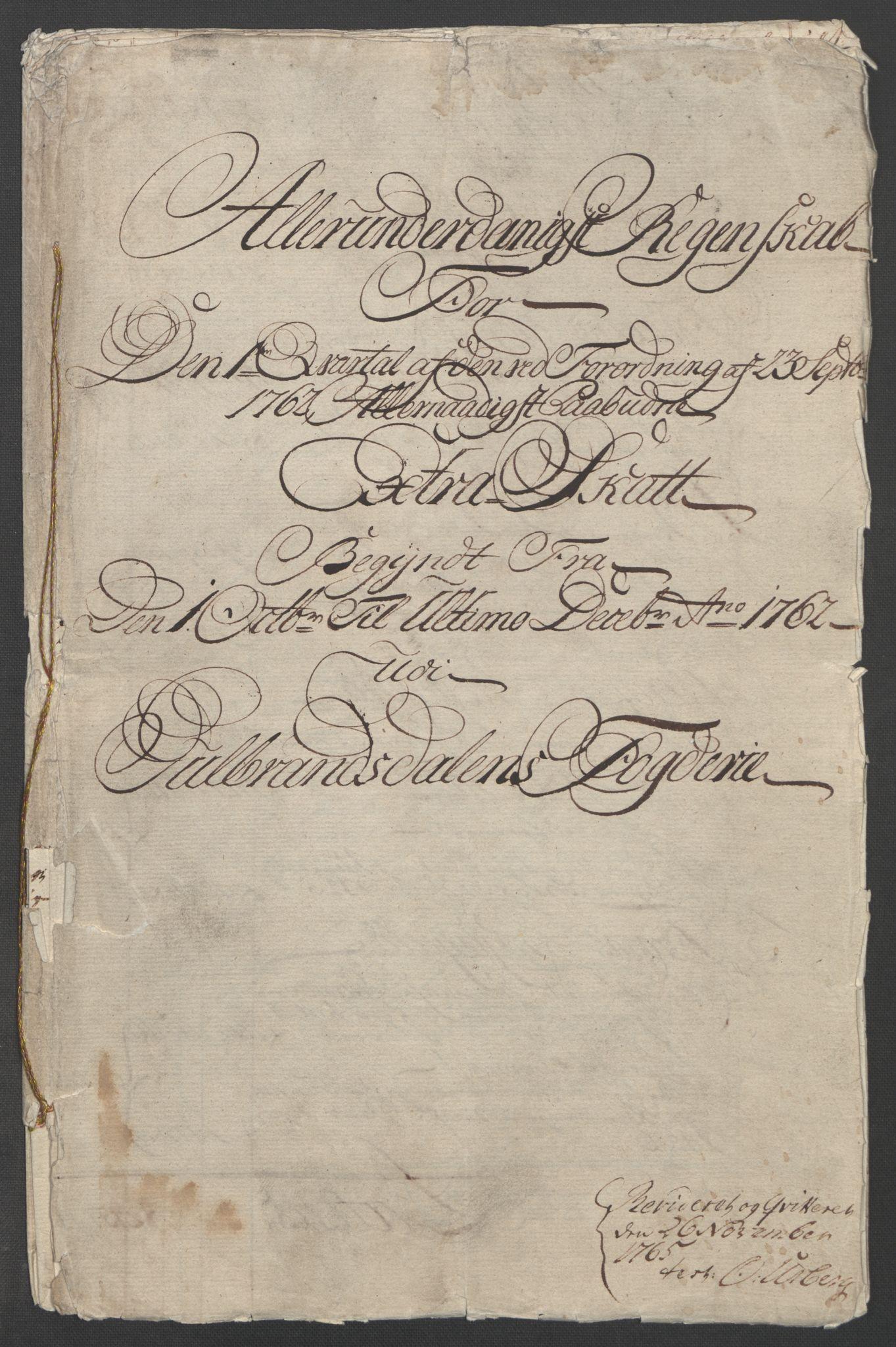 RA, Rentekammeret inntil 1814, Reviderte regnskaper, Fogderegnskap, R17/L1266: Ekstraskatten Gudbrandsdal, 1762-1766, s. 5
