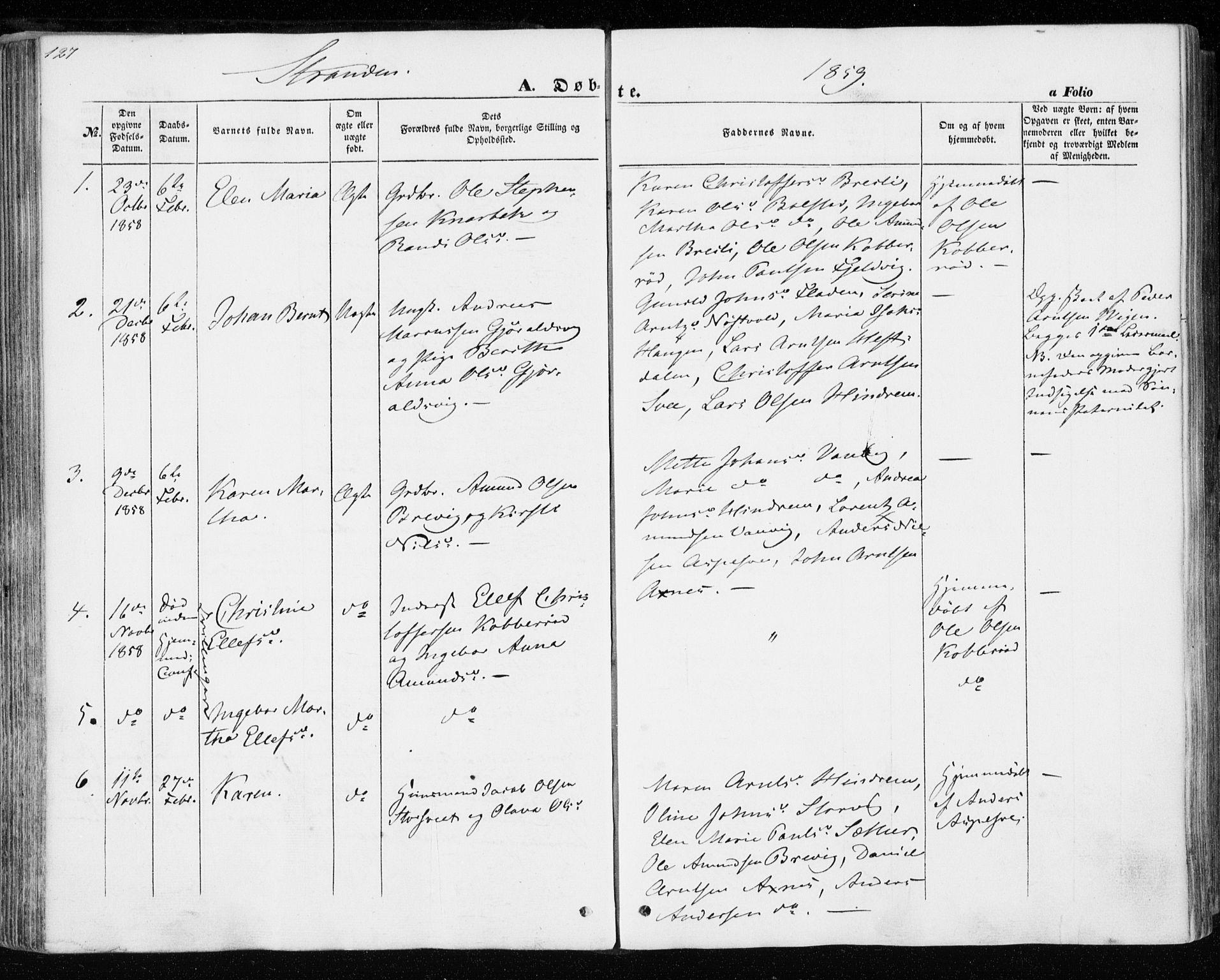 SAT, Ministerialprotokoller, klokkerbøker og fødselsregistre - Nord-Trøndelag, 701/L0008: Ministerialbok nr. 701A08 /2, 1854-1863, s. 127