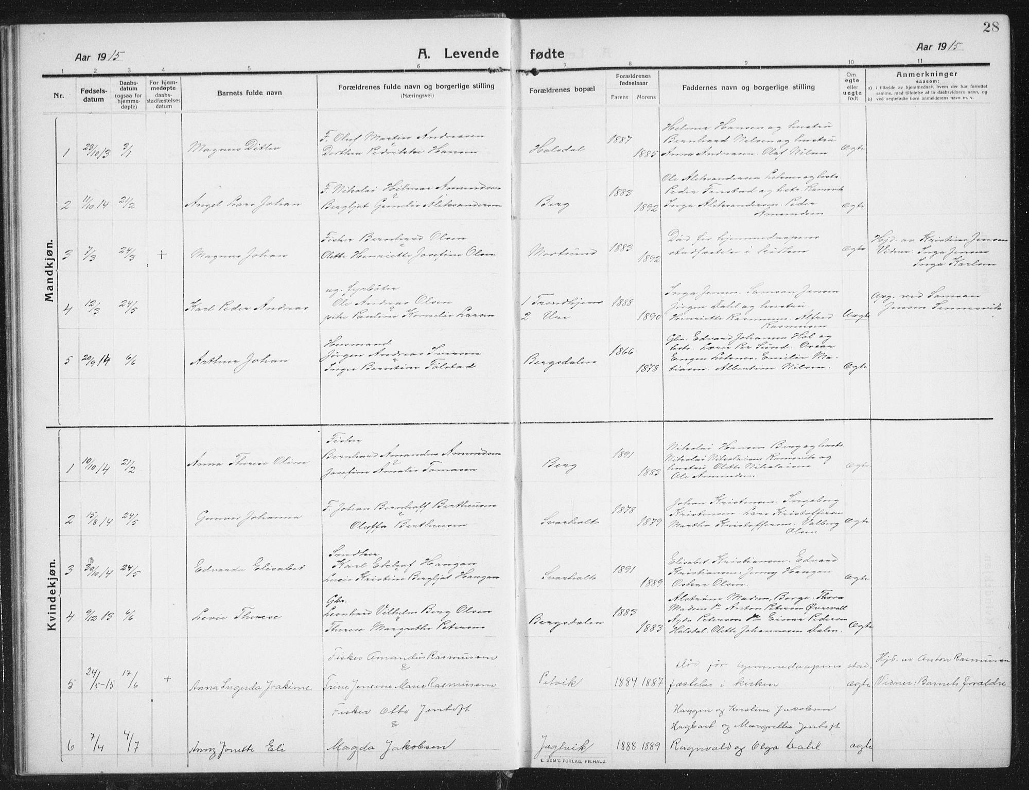 SAT, Ministerialprotokoller, klokkerbøker og fødselsregistre - Nordland, 882/L1183: Klokkerbok nr. 882C01, 1911-1938, s. 28