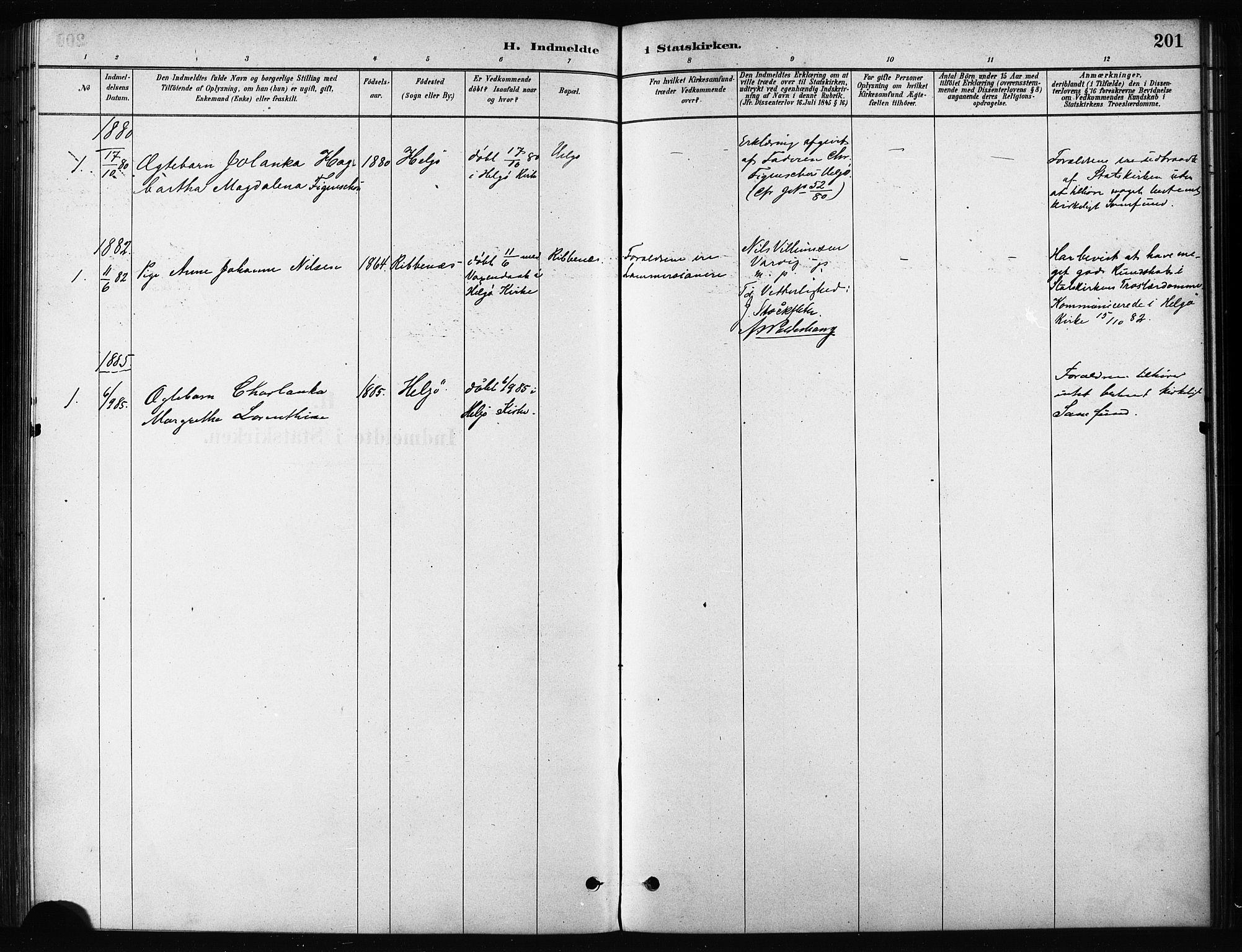 SATØ, Karlsøy sokneprestembete, H/Ha/Haa/L0011kirke: Ministerialbok nr. 11, 1879-1892, s. 201