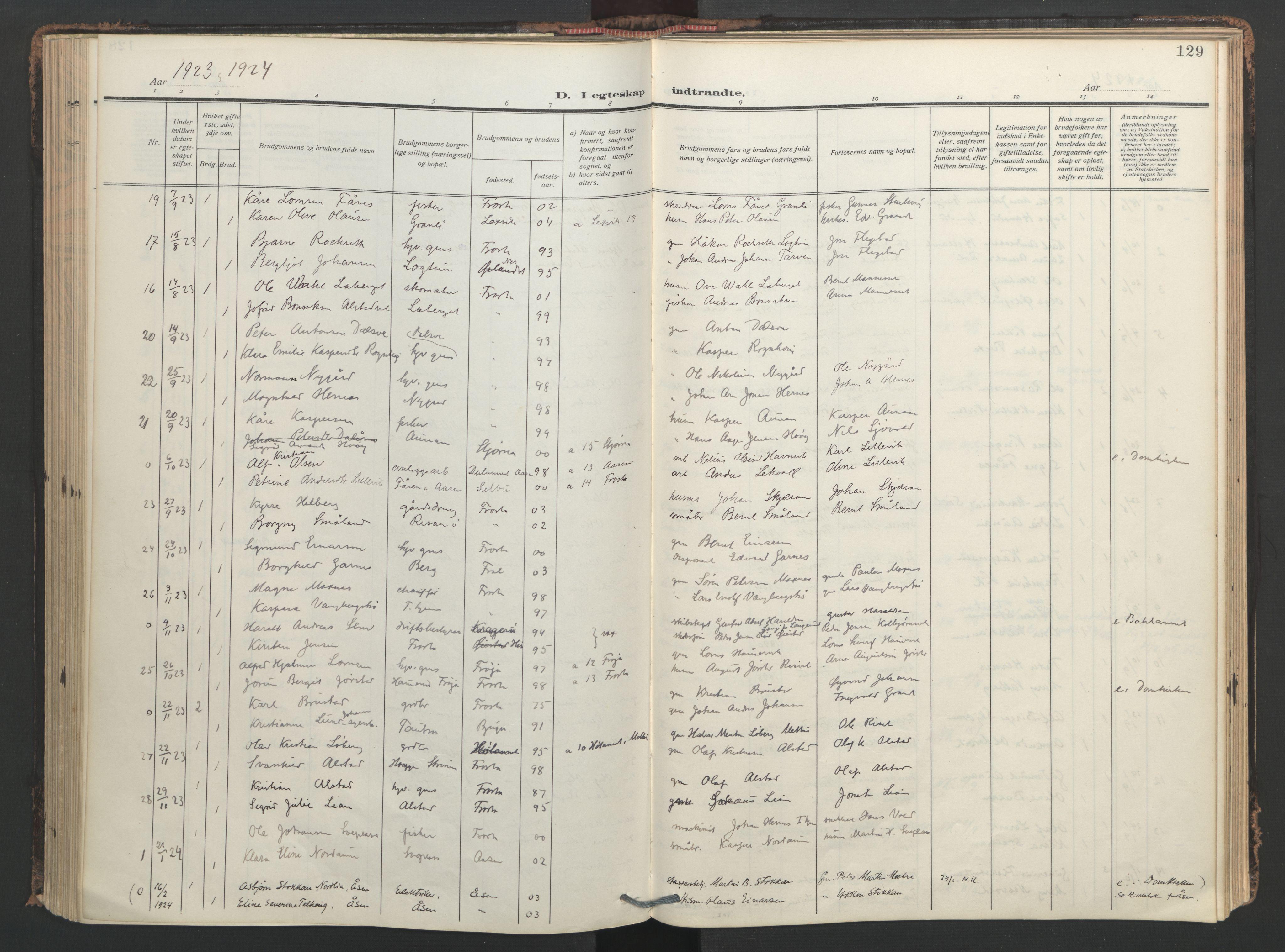 SAT, Ministerialprotokoller, klokkerbøker og fødselsregistre - Nord-Trøndelag, 713/L0123: Ministerialbok nr. 713A12, 1911-1925, s. 129