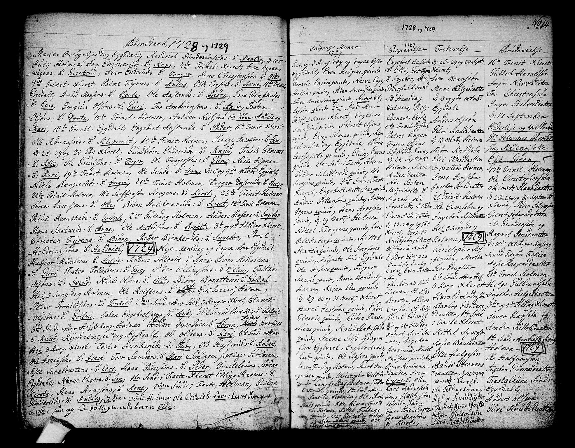 SAKO, Sigdal kirkebøker, F/Fa/L0001: Ministerialbok nr. I 1, 1722-1777, s. 14