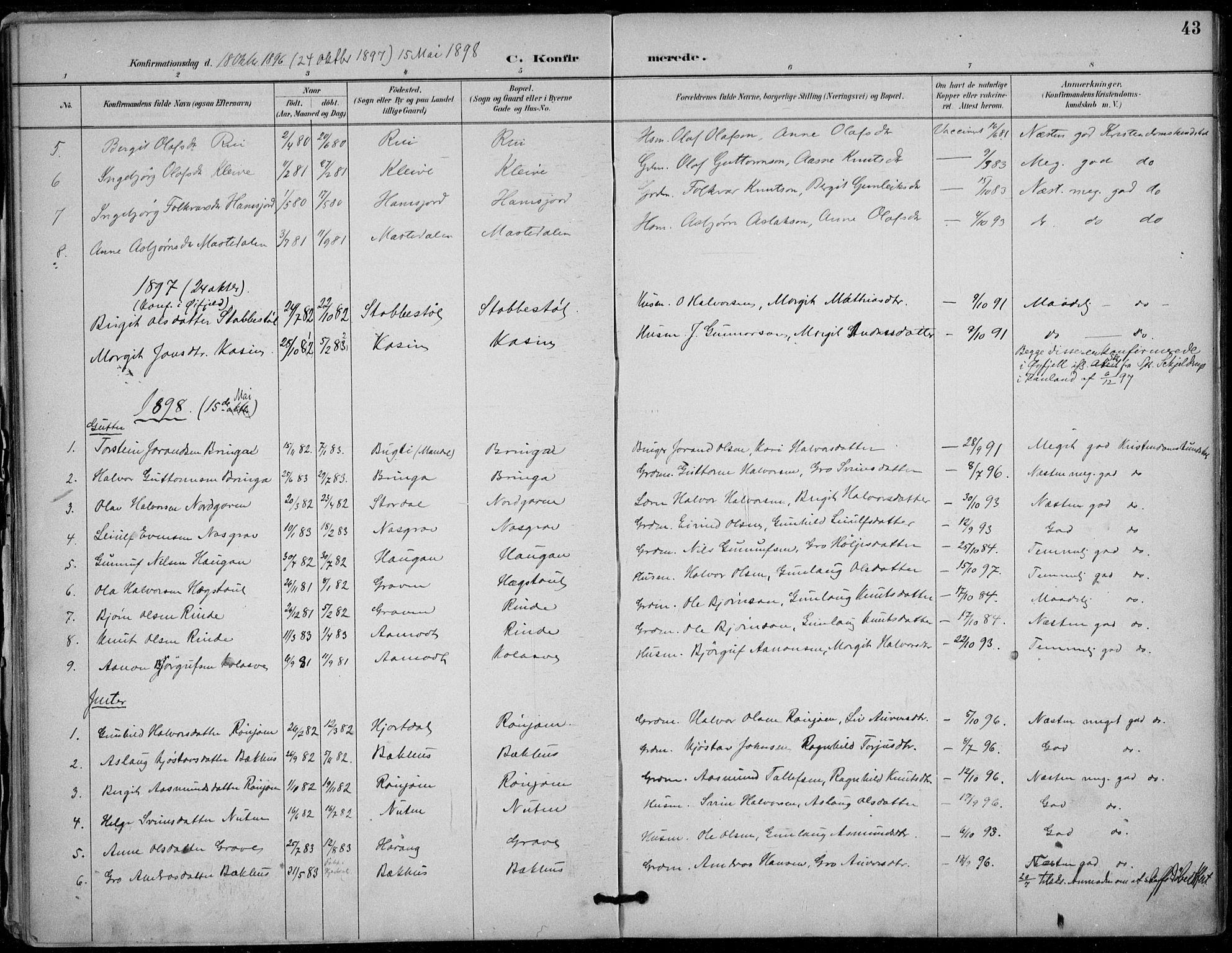 SAKO, Seljord kirkebøker, F/Fc/L0002: Ministerialbok nr. III 2, 1887-1920, s. 43
