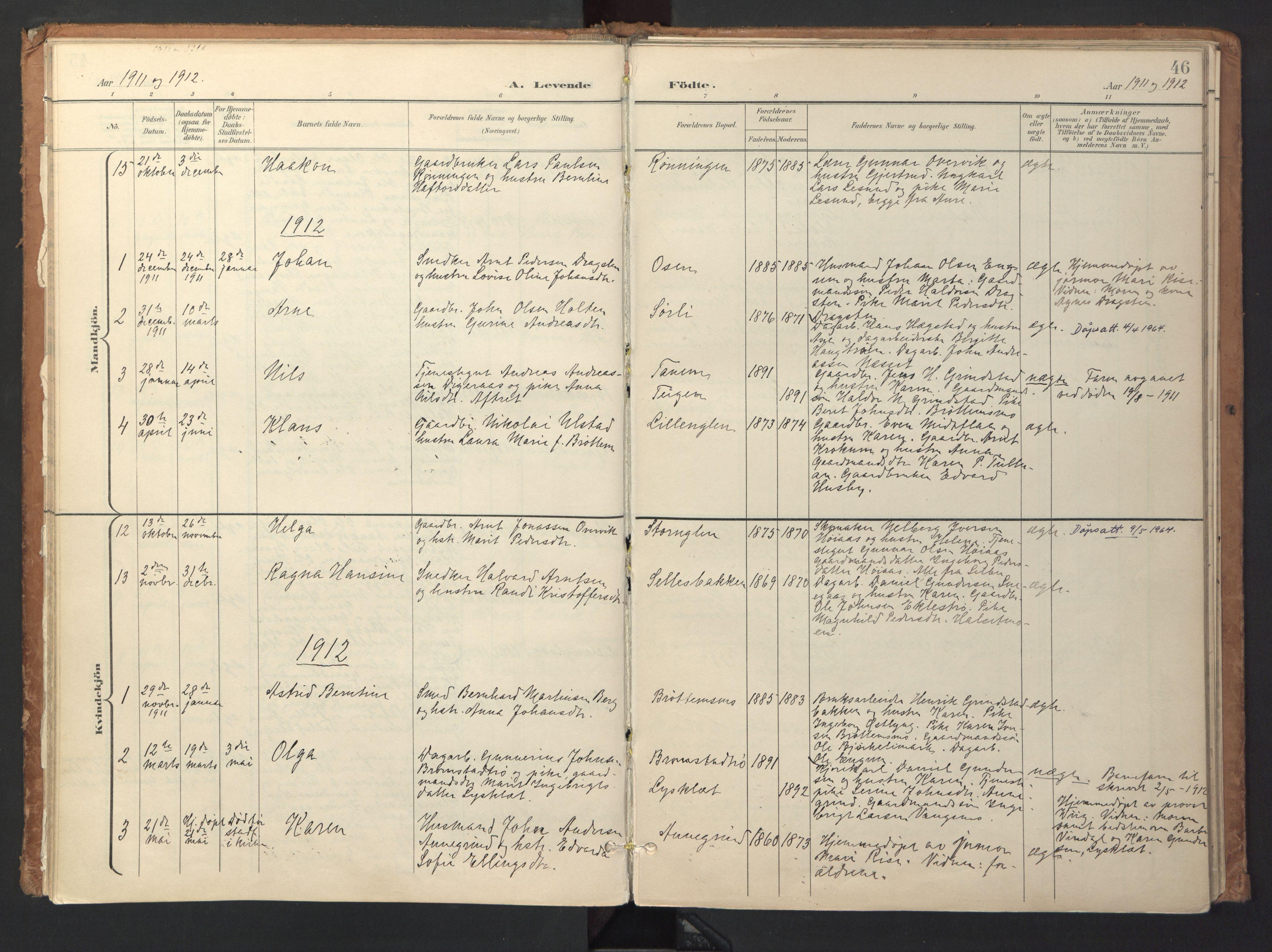 SAT, Ministerialprotokoller, klokkerbøker og fødselsregistre - Sør-Trøndelag, 618/L0448: Ministerialbok nr. 618A11, 1898-1916, s. 46
