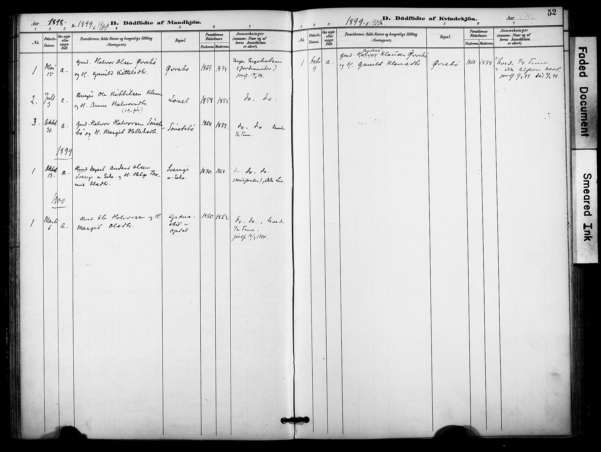 SAKO, Bø kirkebøker, F/Fa/L0011: Ministerialbok nr. 11, 1892-1900, s. 52