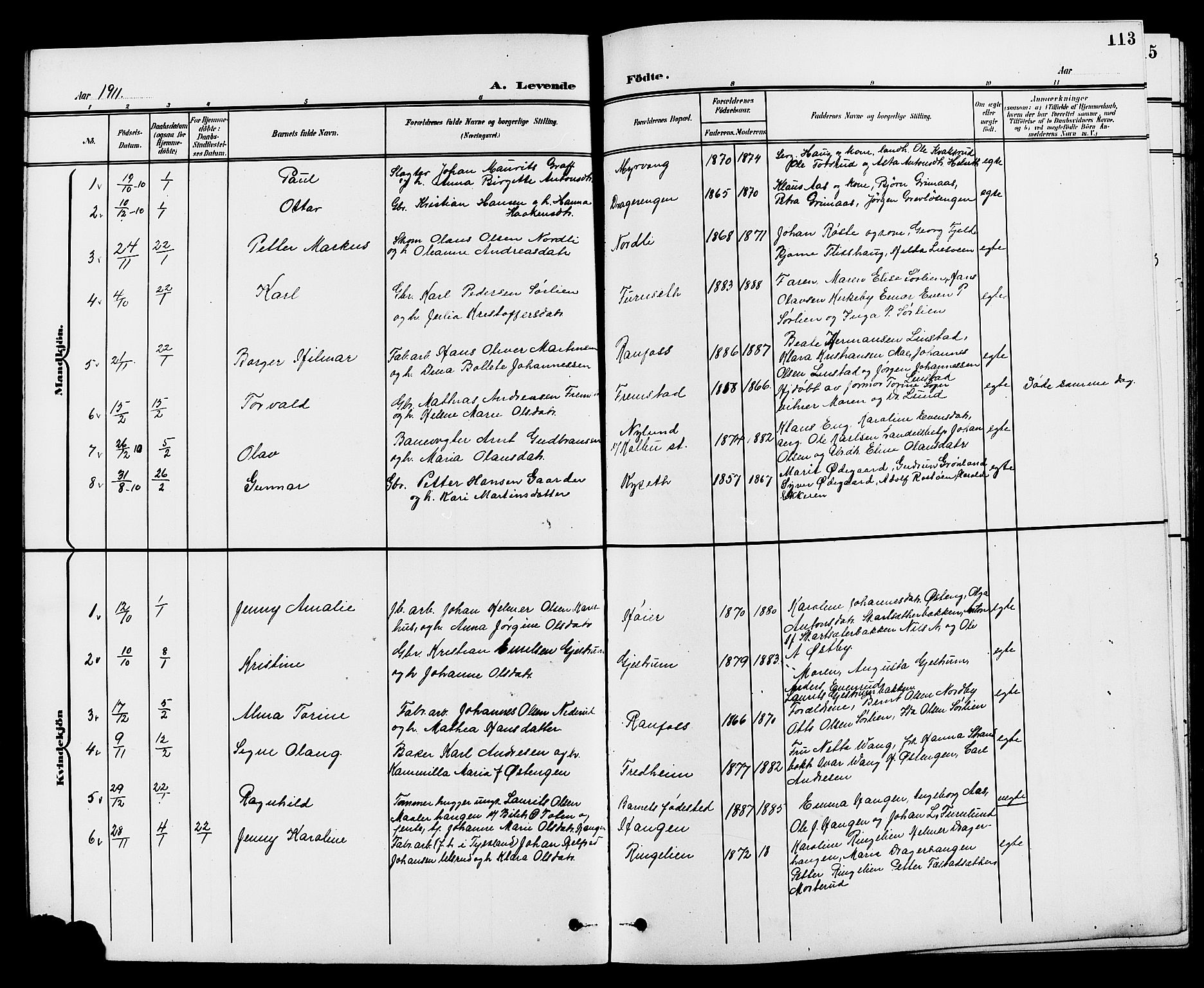 SAH, Vestre Toten prestekontor, H/Ha/Hab/L0010: Klokkerbok nr. 10, 1900-1912, s. 113