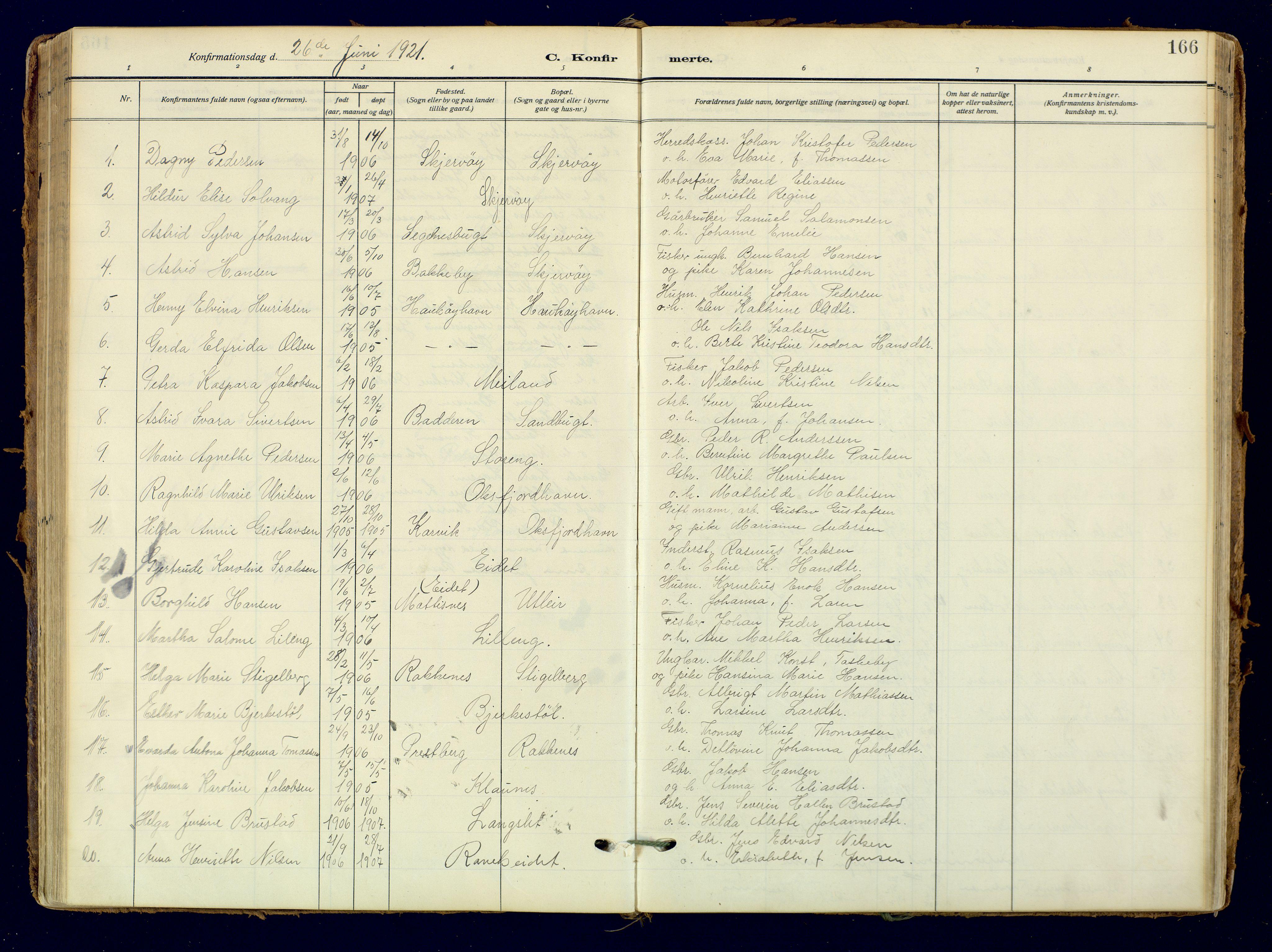 SATØ, Skjervøy sokneprestkontor, H/Ha/Haa: Ministerialbok nr. 18, 1910-1926, s. 166